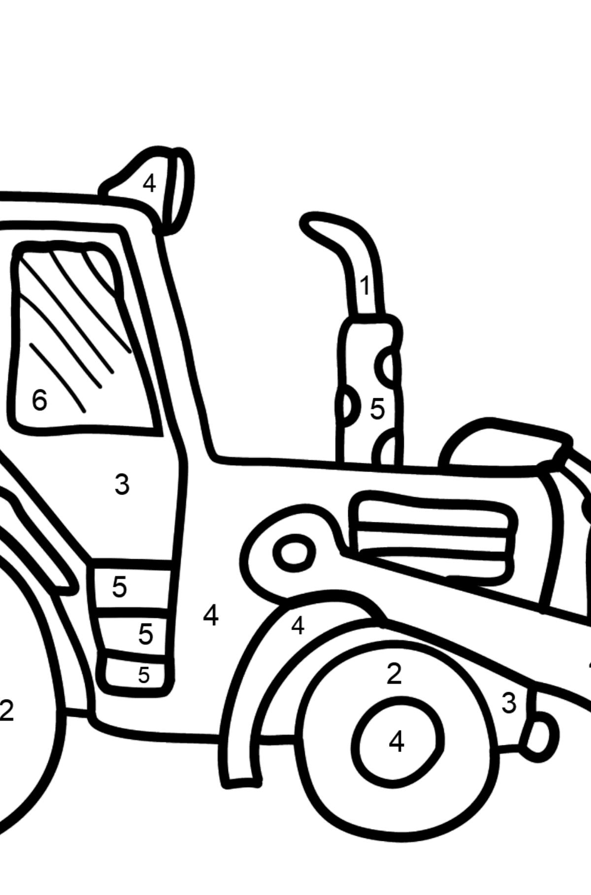 Coloriage - Un tracteur jaune - Coloriage par Chiffres pour les Enfants