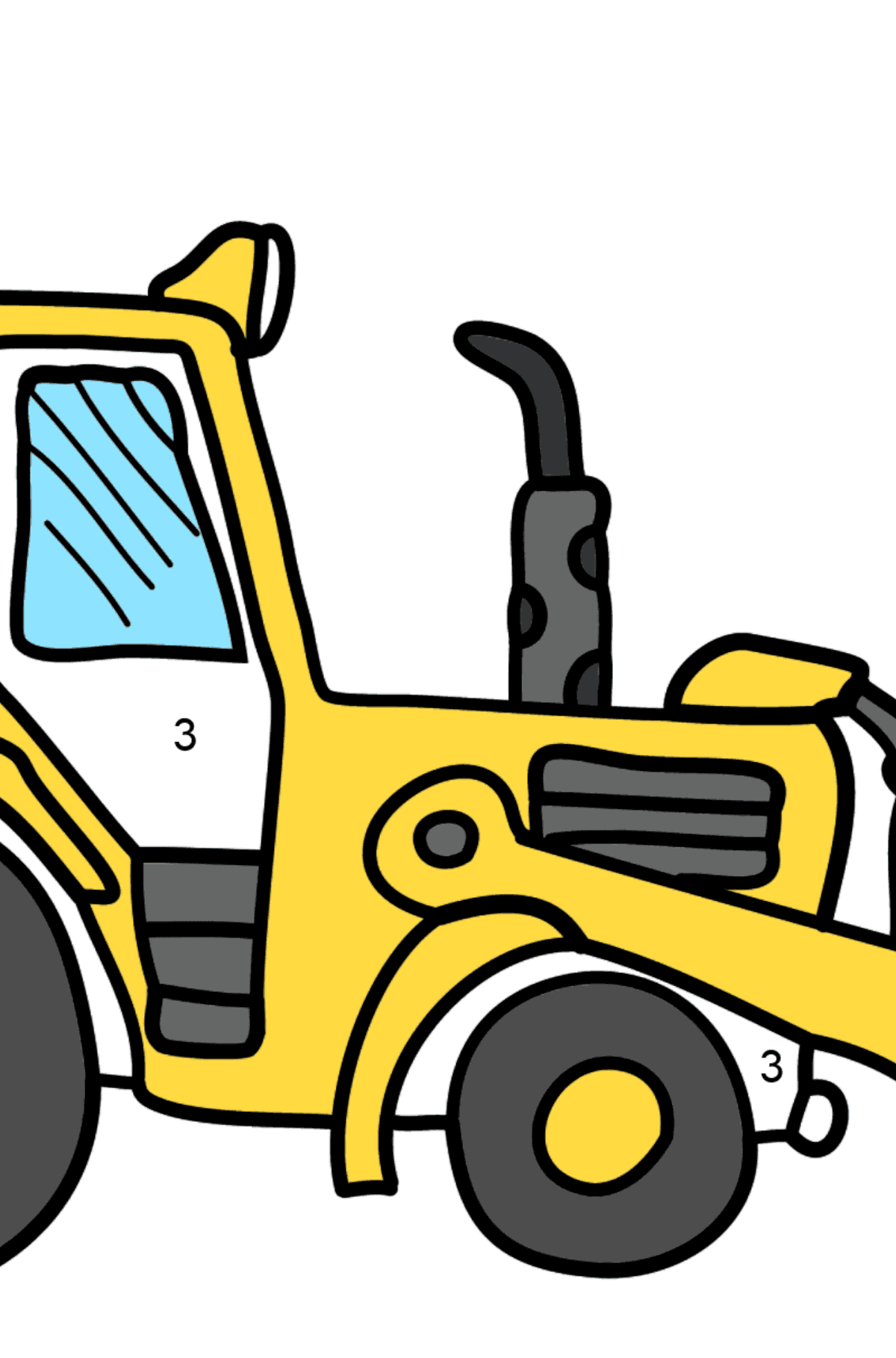 Coloring Page - A Yellow Tractor - Coloring by Numbers for Kids