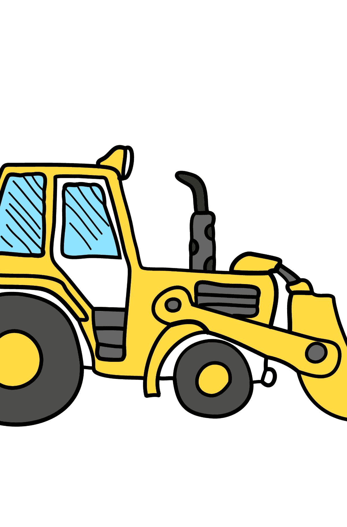 Coloring Page - A Yellow Tractor - Coloring Pages for Kids