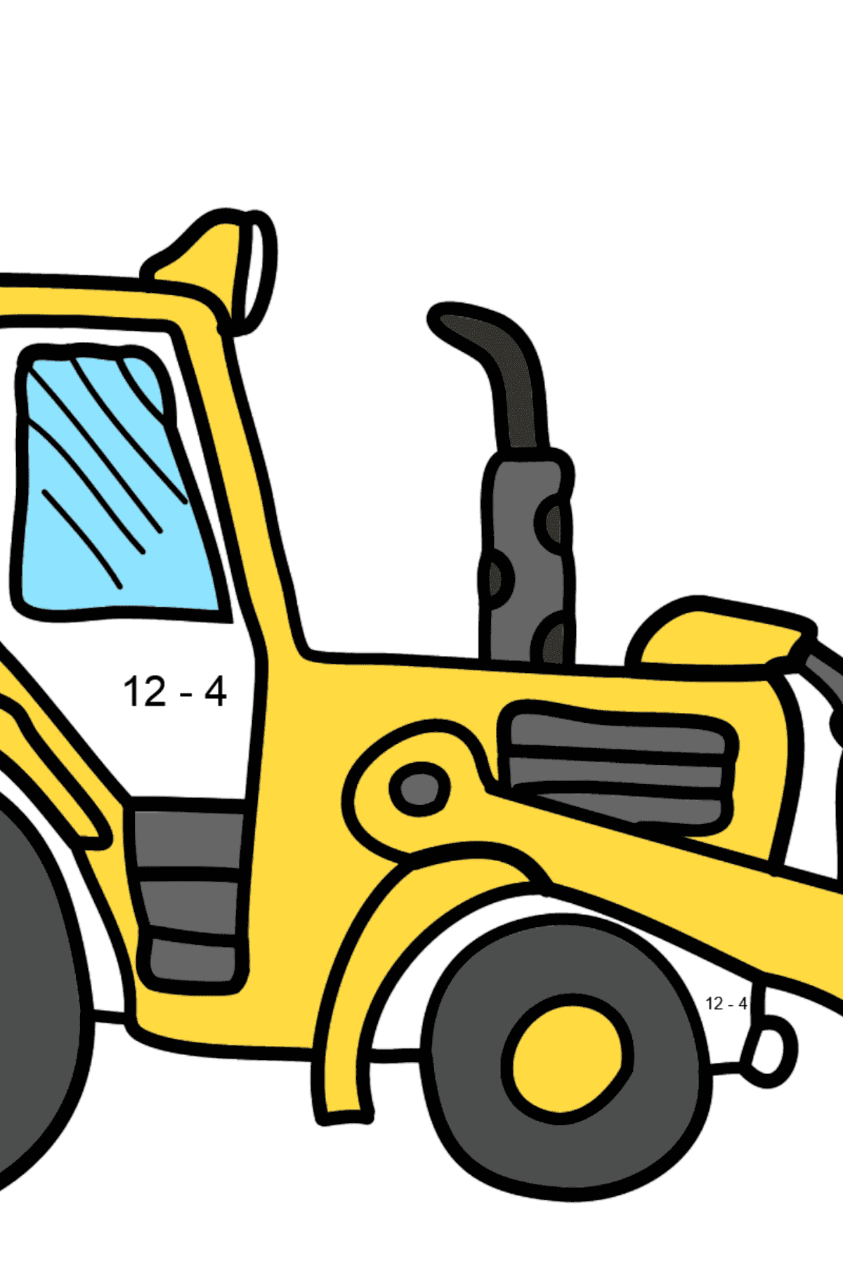 Coloring Page - A Yellow Tractor - Math Coloring - Subtraction for Kids