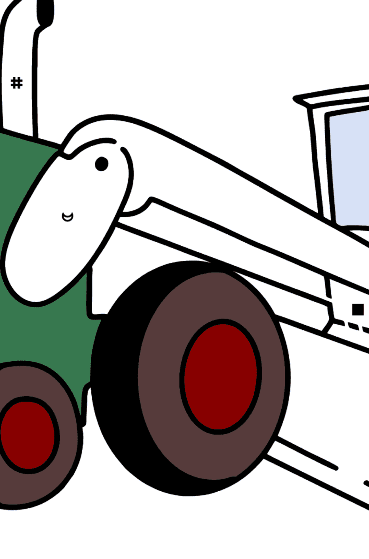 Tractor Grader coloring page - Coloring by Symbols for Kids