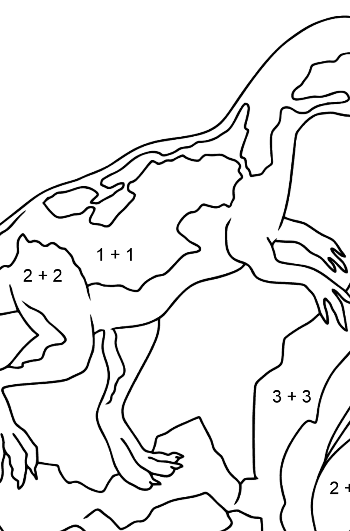 Coloring Page - A Dinosaur is Looking for Food - Math Coloring - Addition for Kids