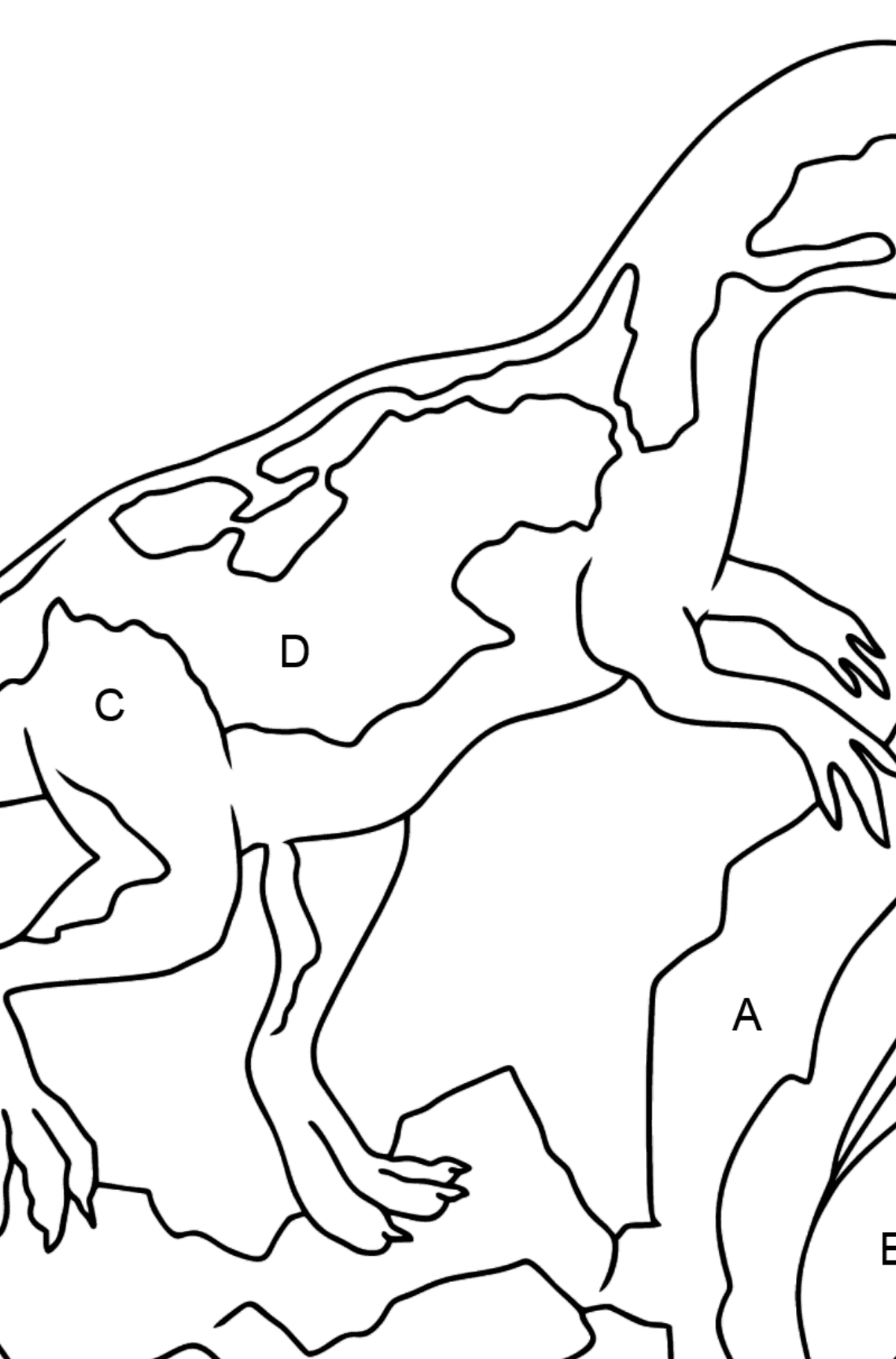 Coloring Page - A Dinosaur is Looking for Food - Coloring by Letters for Kids