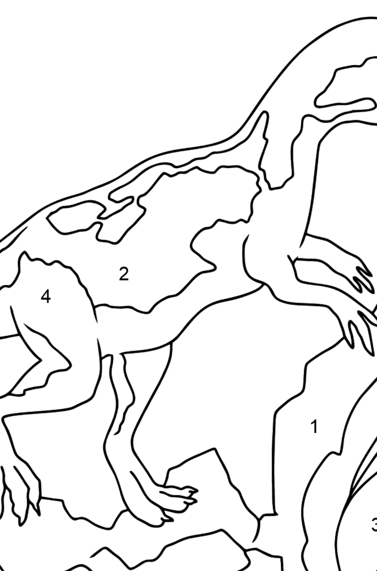 Coloring Page - A Dinosaur is Looking for Food - Coloring by Numbers for Kids