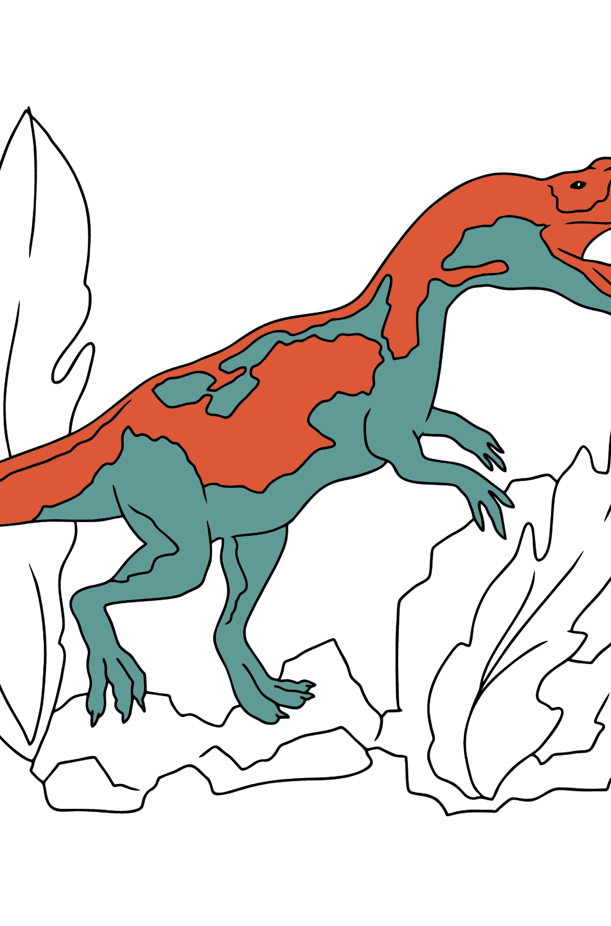 Coloring Page - A Dinosaur is Looking for Food - Coloring Pages for Kids
