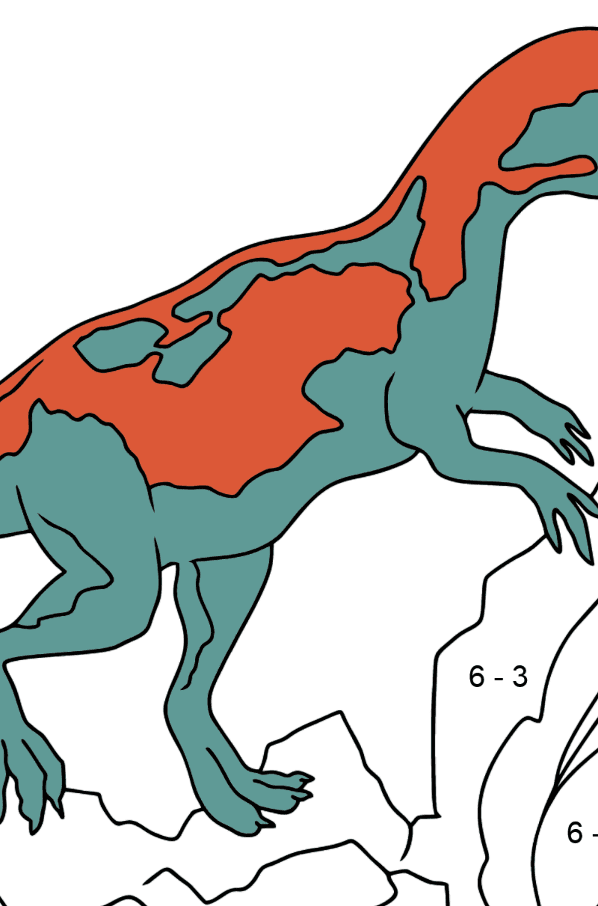 Coloring Page - A Dinosaur is Looking for Food - Math Coloring - Subtraction for Kids