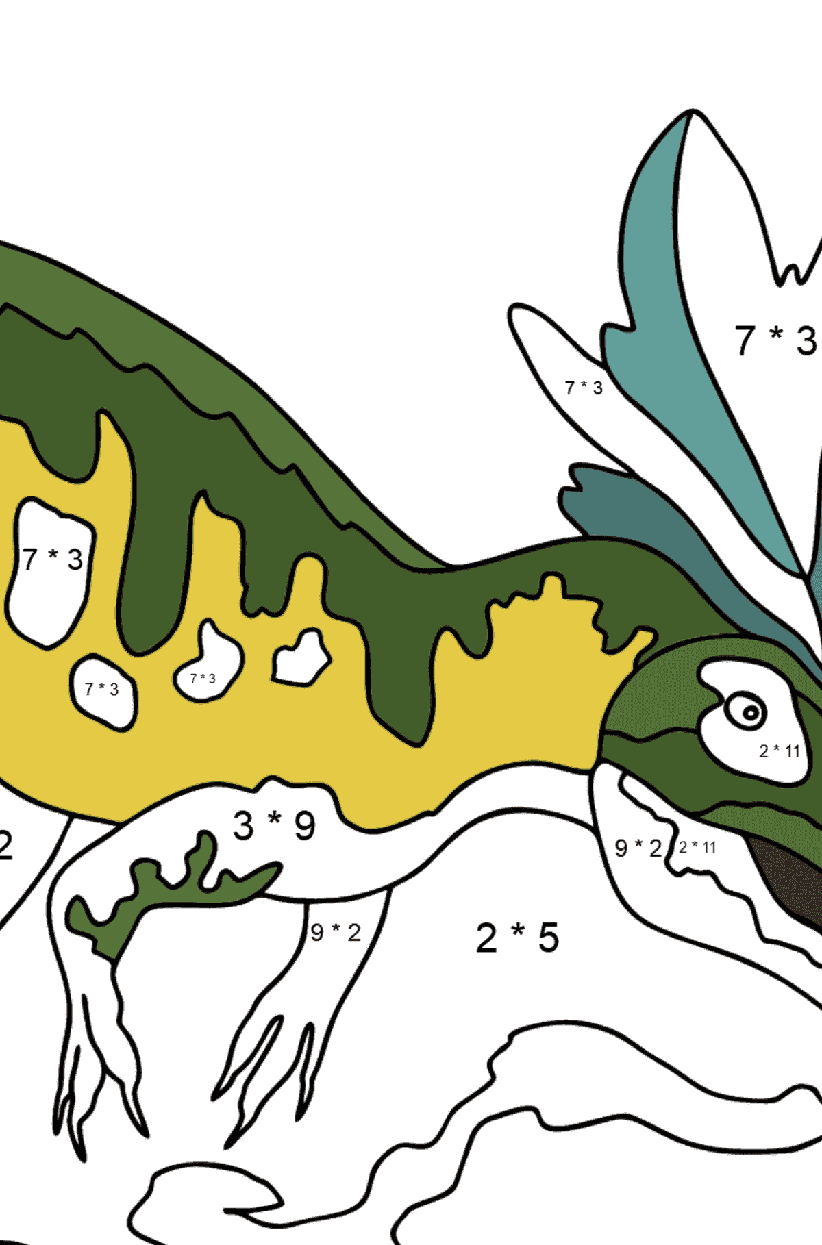 Coloring Page - Allosaurus - A Well-Researched Dinosaur - Math Coloring - Multiplication for Kids