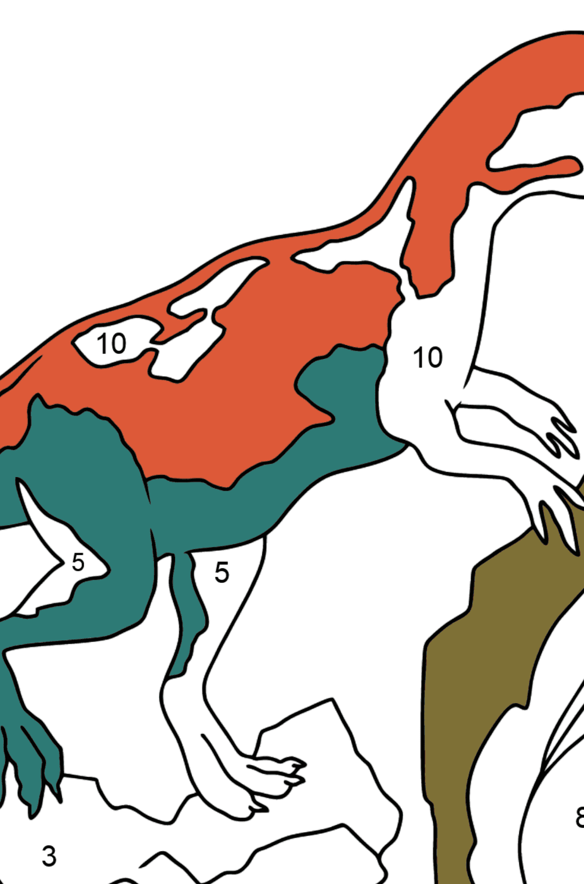 Coloring Page - Allosaurus - Jurassic Dinosaur - Coloring by Numbers for Kids