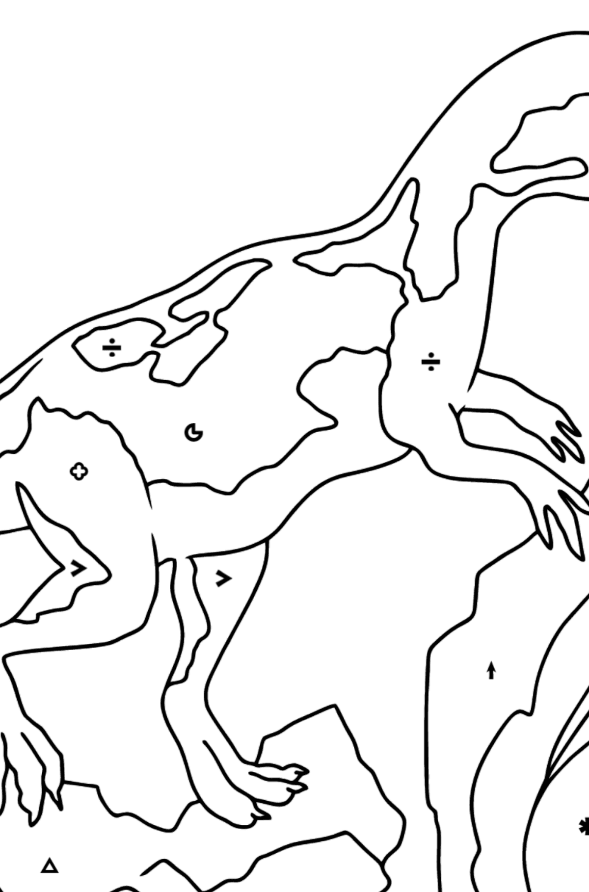 Coloring Page - Allosaurus - Jurassic Dinosaur - Coloring by Symbols and Geometric Shapes for Kids
