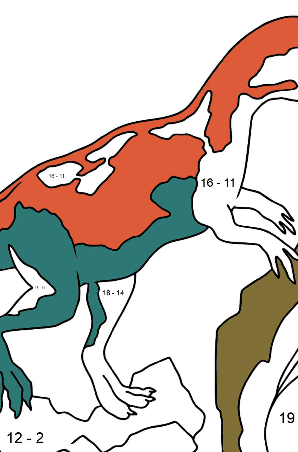 Coloring Page - Allosaurus - Jurassic Dinosaur - Math Coloring - Subtraction for Kids