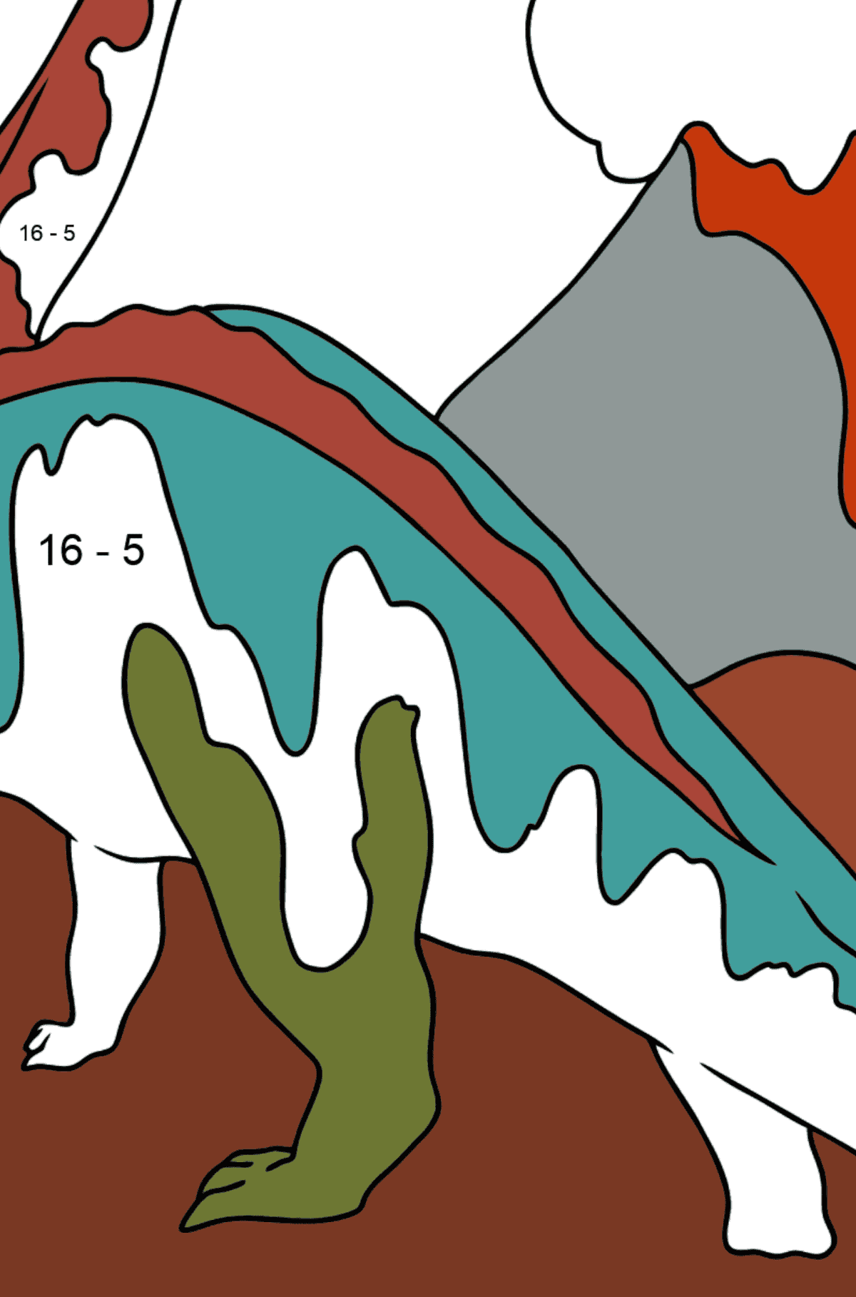 Coloring Page - Brontosaurus or a Deceiving Dinosaur - Math Coloring - Subtraction for Kids