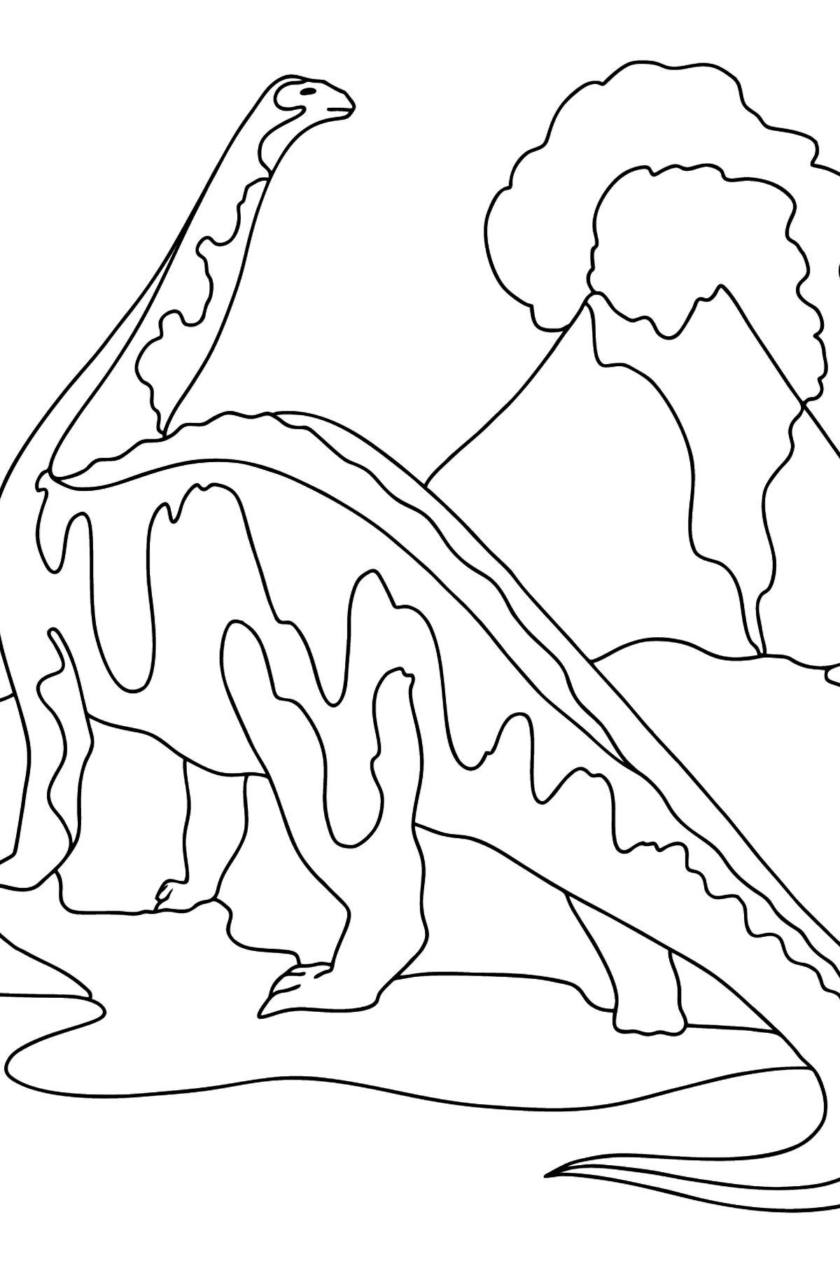 Coloring Page - Brontosaurus or an Elephant-like Dinosaur - Coloring Pages for Kids