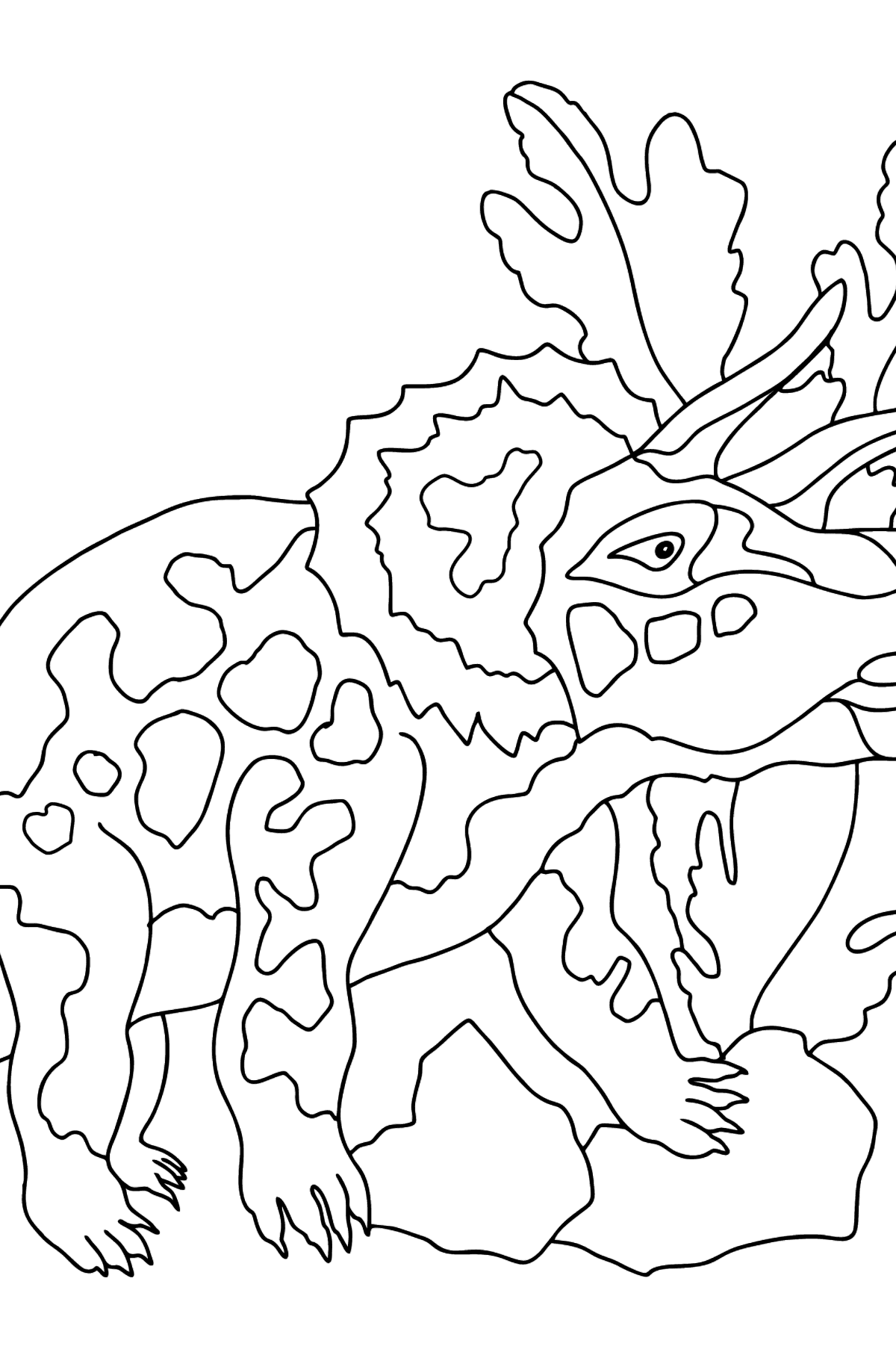 Coloring Page - Triceratops - A Grass-Eating Dinosaur - Coloring Pages for Kids