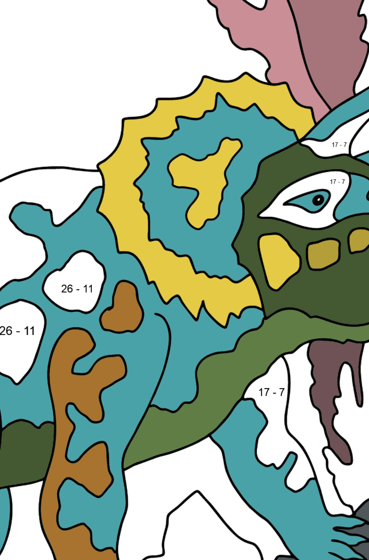 Coloring Page - Triceratops - A Grass-Eating Dinosaur - Math Coloring - Subtraction for Kids