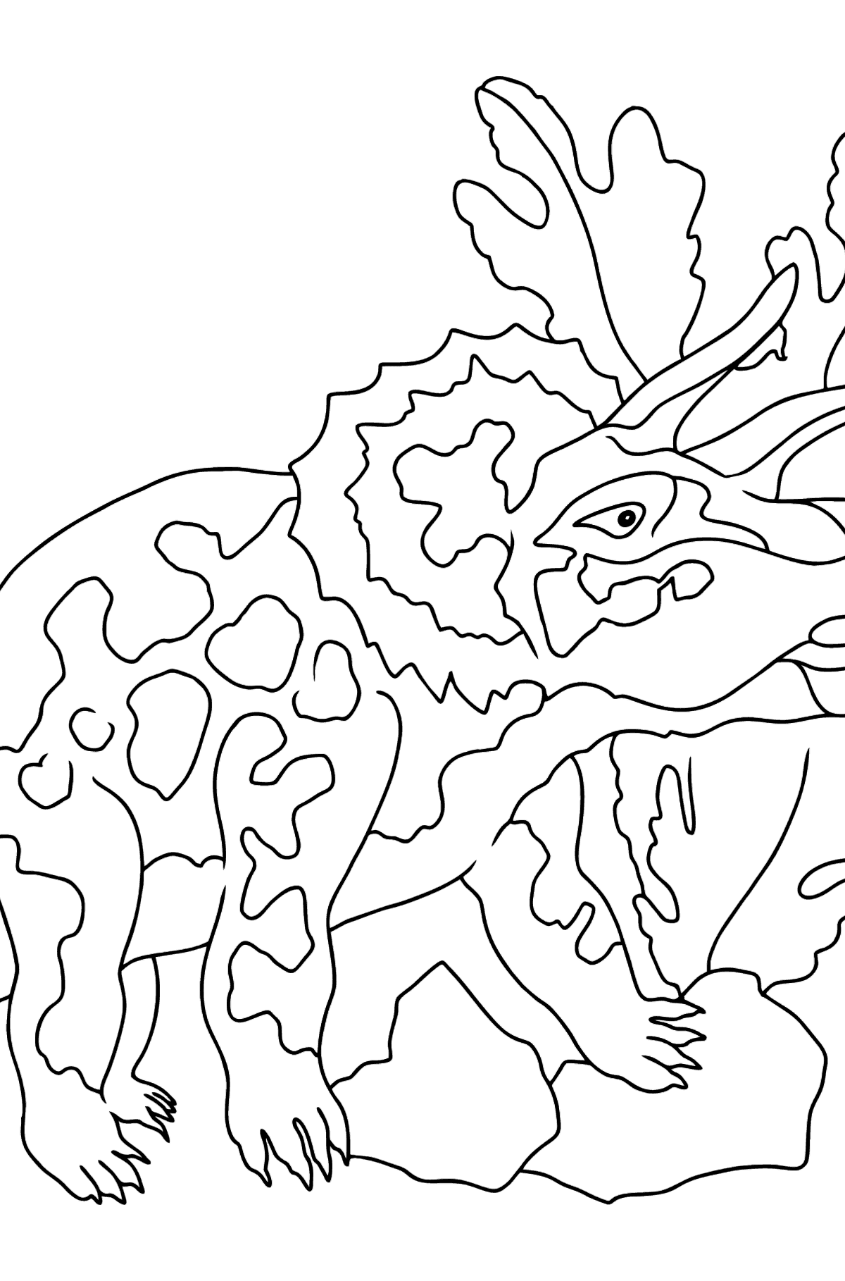 Coloring Page - Triceratops - A Peaceful Horned Dinosaur - Coloring Pages for Kids
