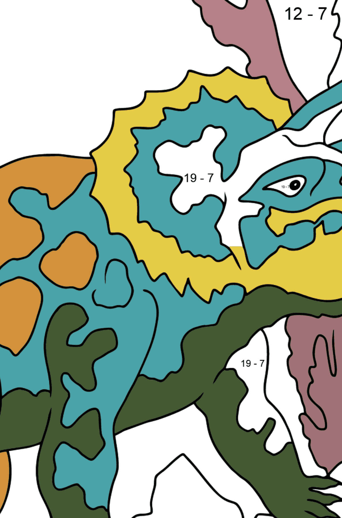 Coloring Page - Triceratops - A Peaceful Horned Dinosaur - Math Coloring - Subtraction for Kids