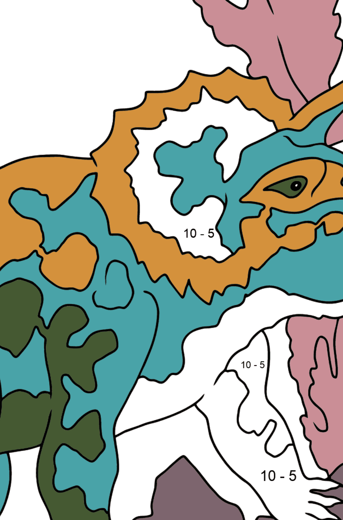 Triceratops Coloring Page - Math Coloring - Subtraction for Kids