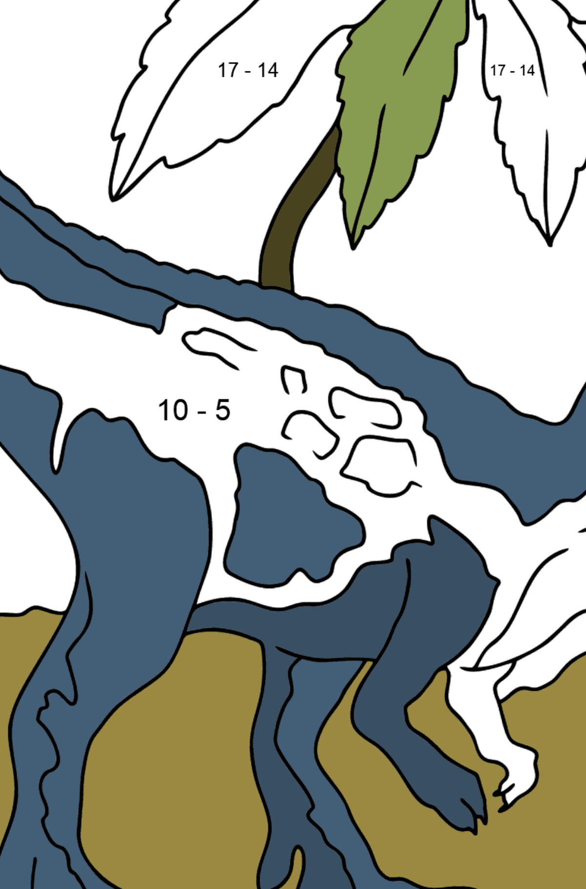 Coloring Page - Tyrannosaurus - A Terrestrial Predator - Math Coloring - Subtraction for Kids