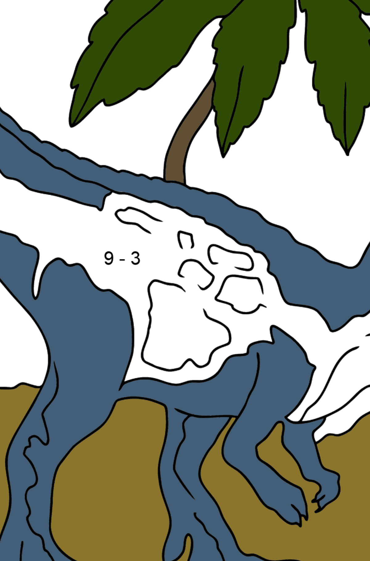 Coloring Page - Tyrannosaurus - The Best Hunter Among Dinosaurs - Math Coloring - Subtraction for Kids