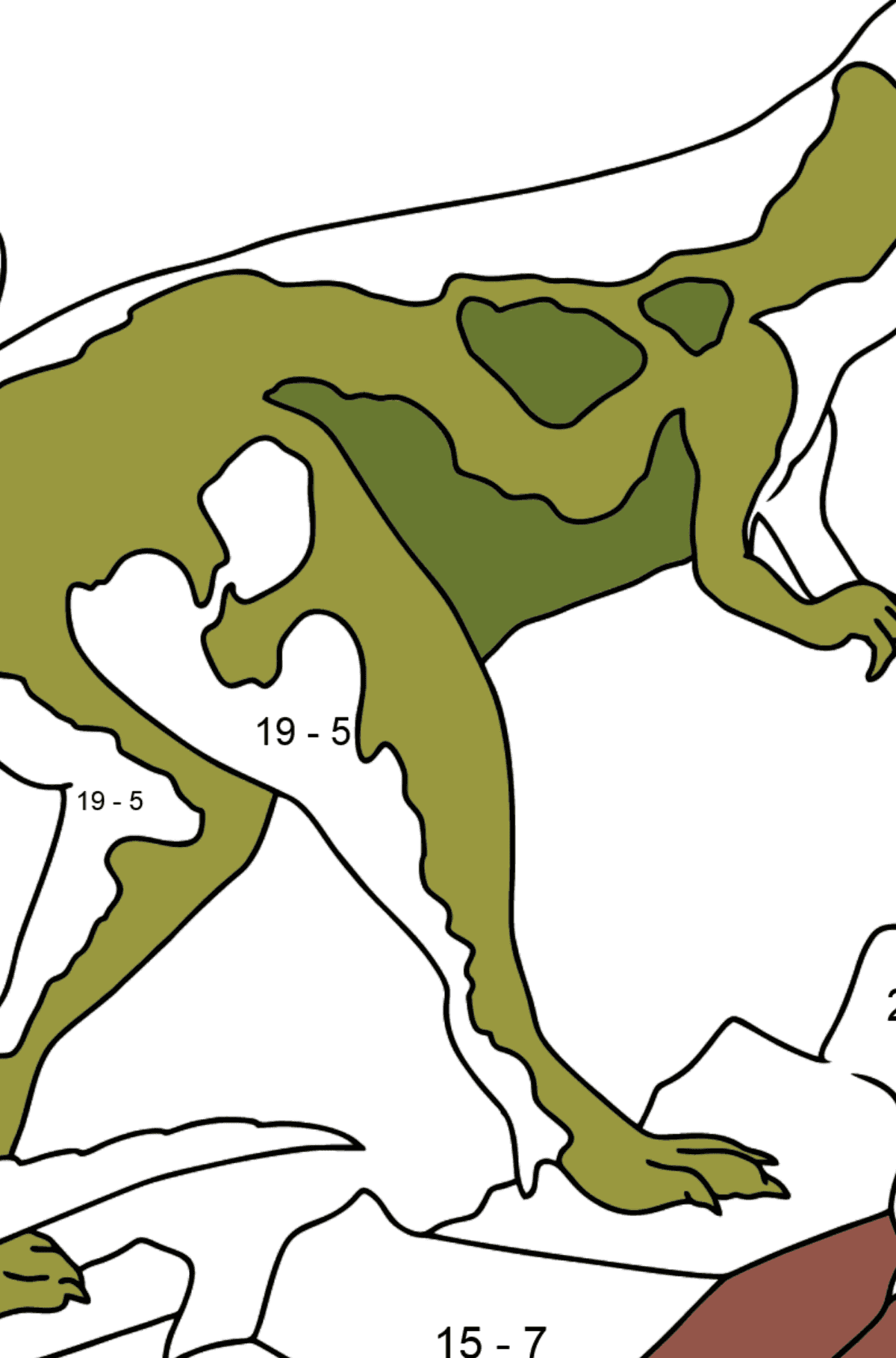 Coloring Page - Tyrannosaurus - The Cruelest Dinosaur - Math Coloring - Subtraction for Kids
