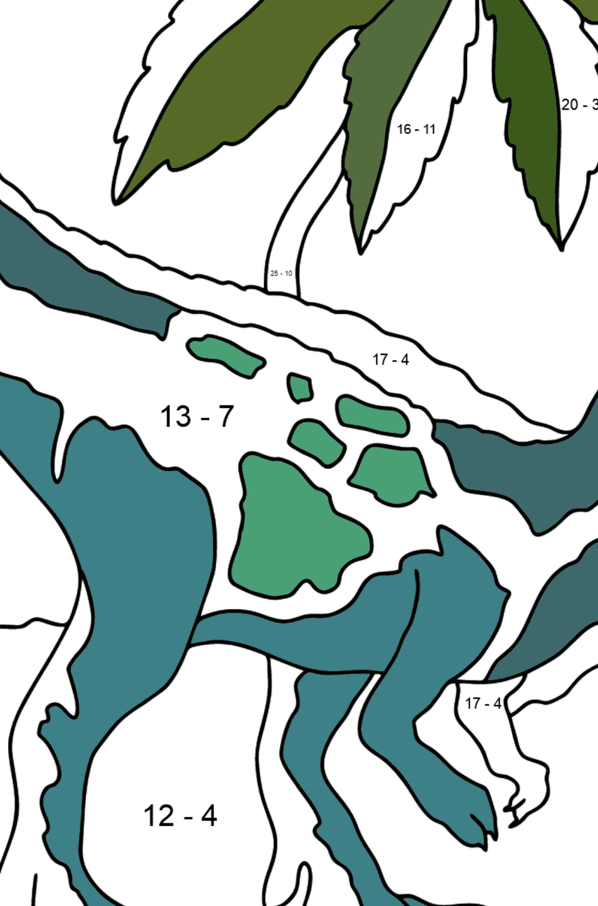 Coloring Page - Tyrannosaurus - The King of Dinosaurs - Math Coloring - Subtraction for Kids