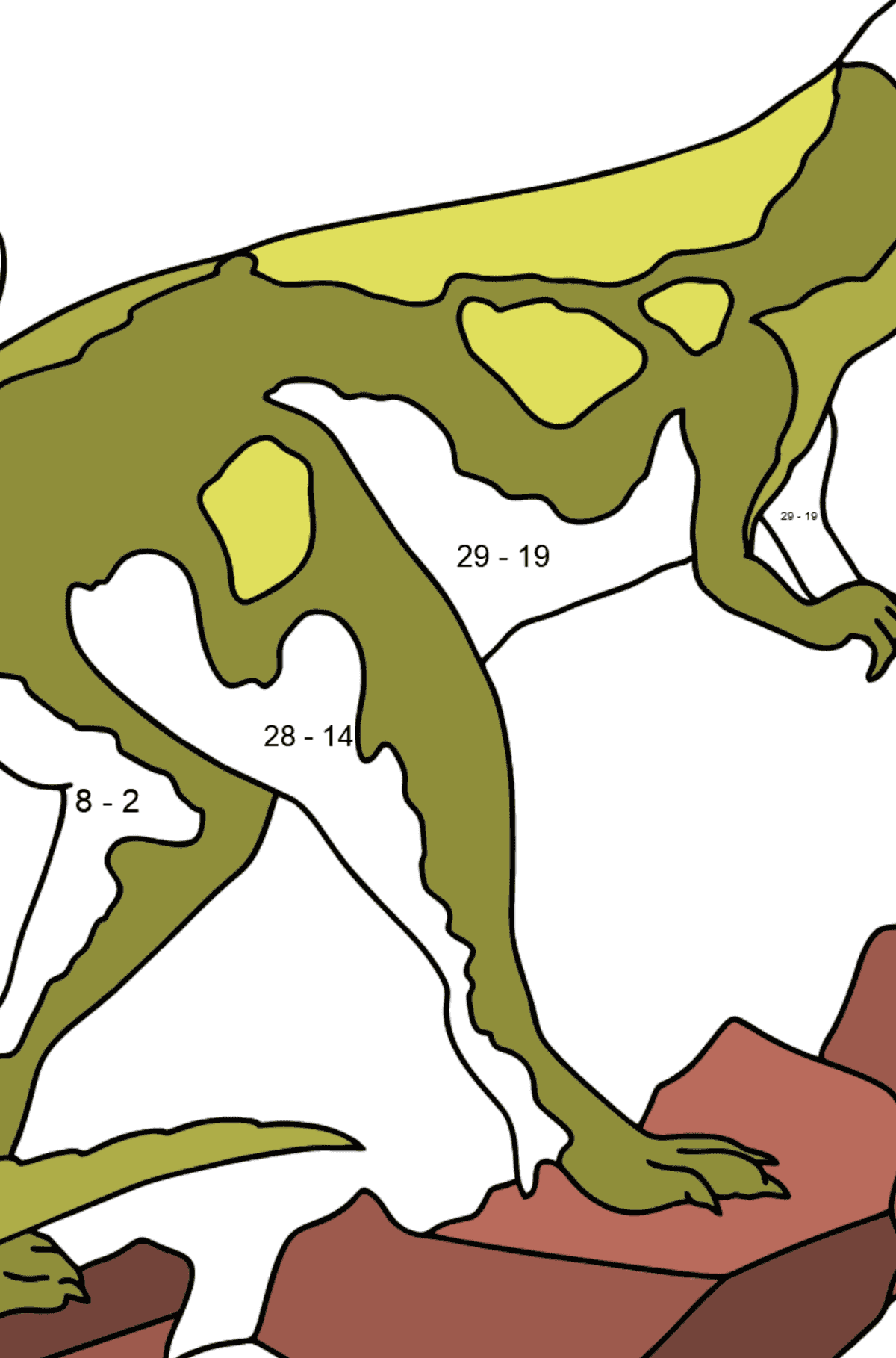 Coloring Page - Tyrannosaurus - The Most Popular Dinosaur on the Planet - Math Coloring - Subtraction for Kids