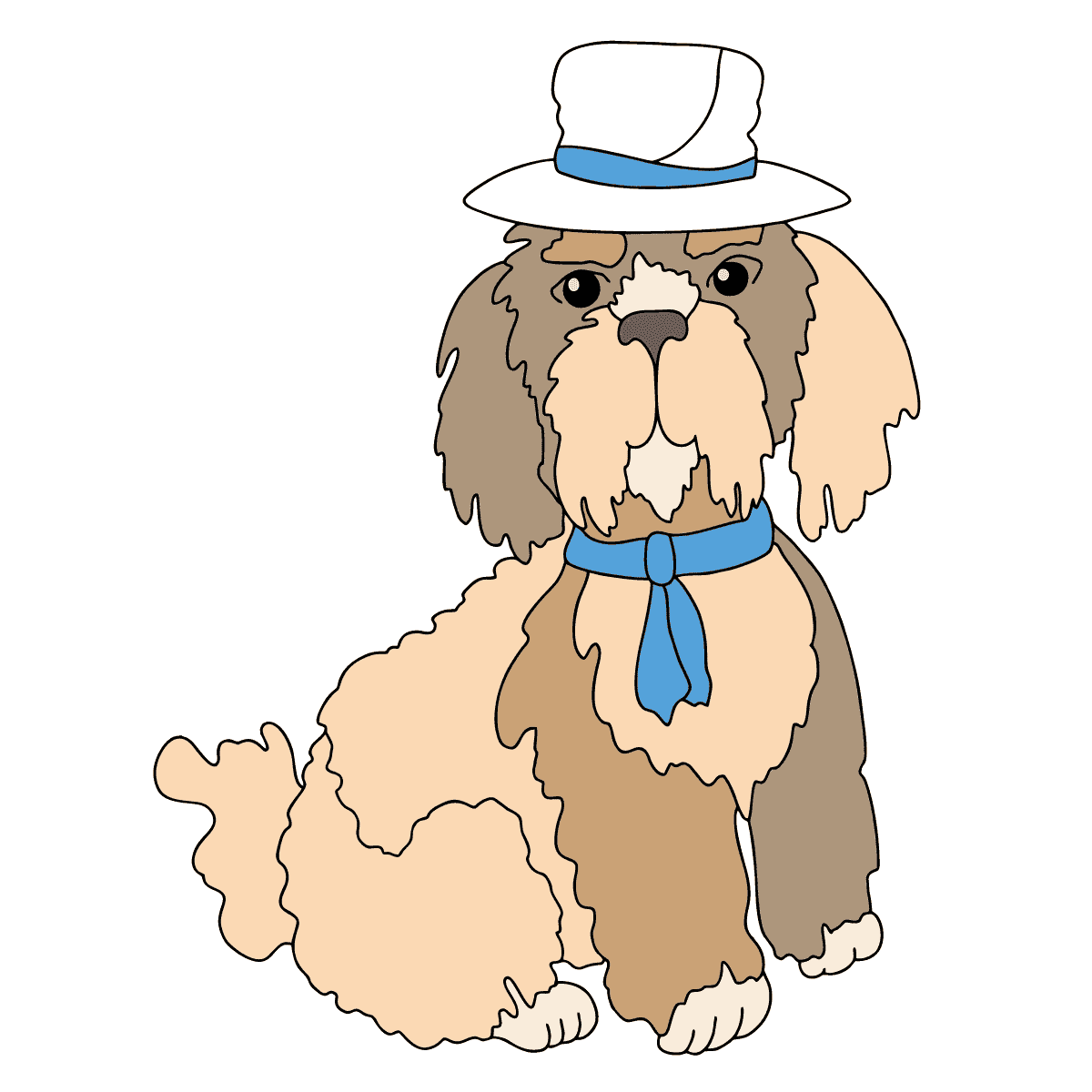 Coloring Page - A Dog in a Beautiful Hat