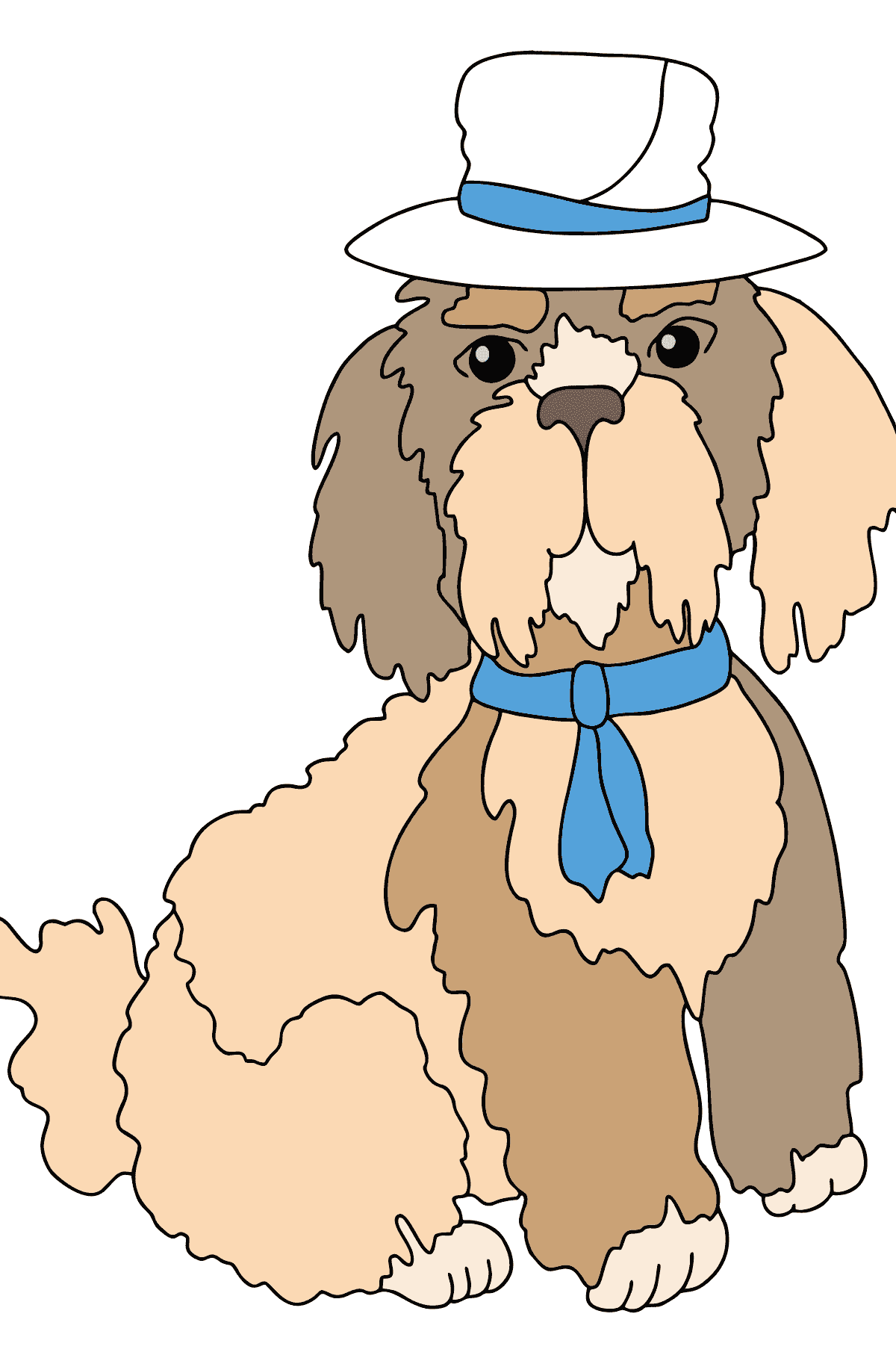 Coloring Page - A Dog in a Beautiful Hat for Children