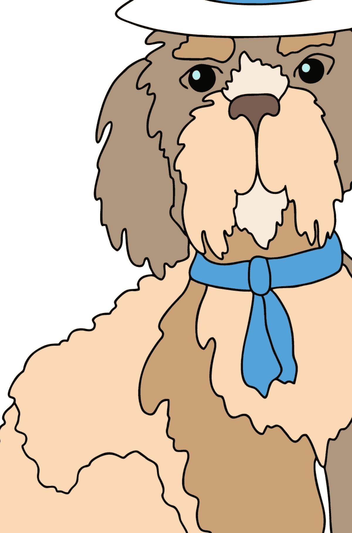 Ausmalseite - Ein Hund mit schickem Hut
