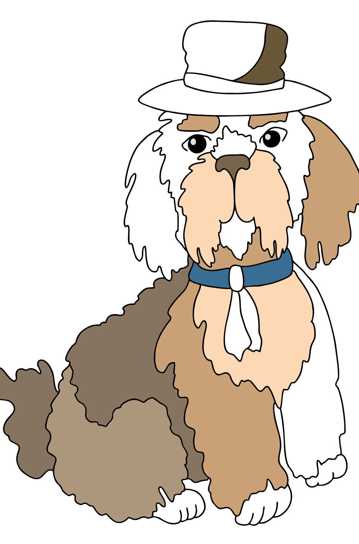 Coloring Page - A Dog in a Fancy Hat for Children