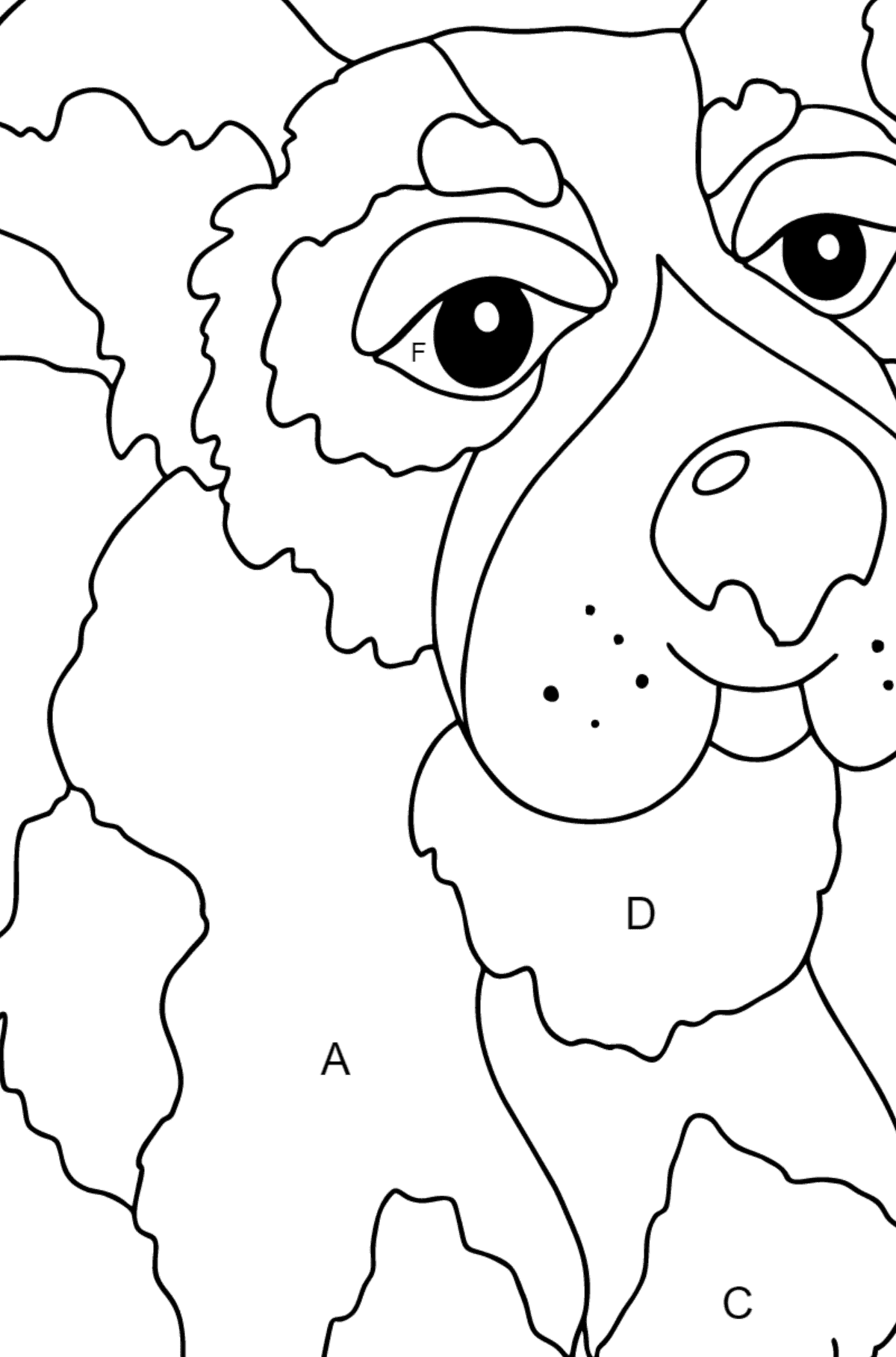 Coloring Page - A Dog is Jumping with a Blue Ball for Children  - Color by Letters