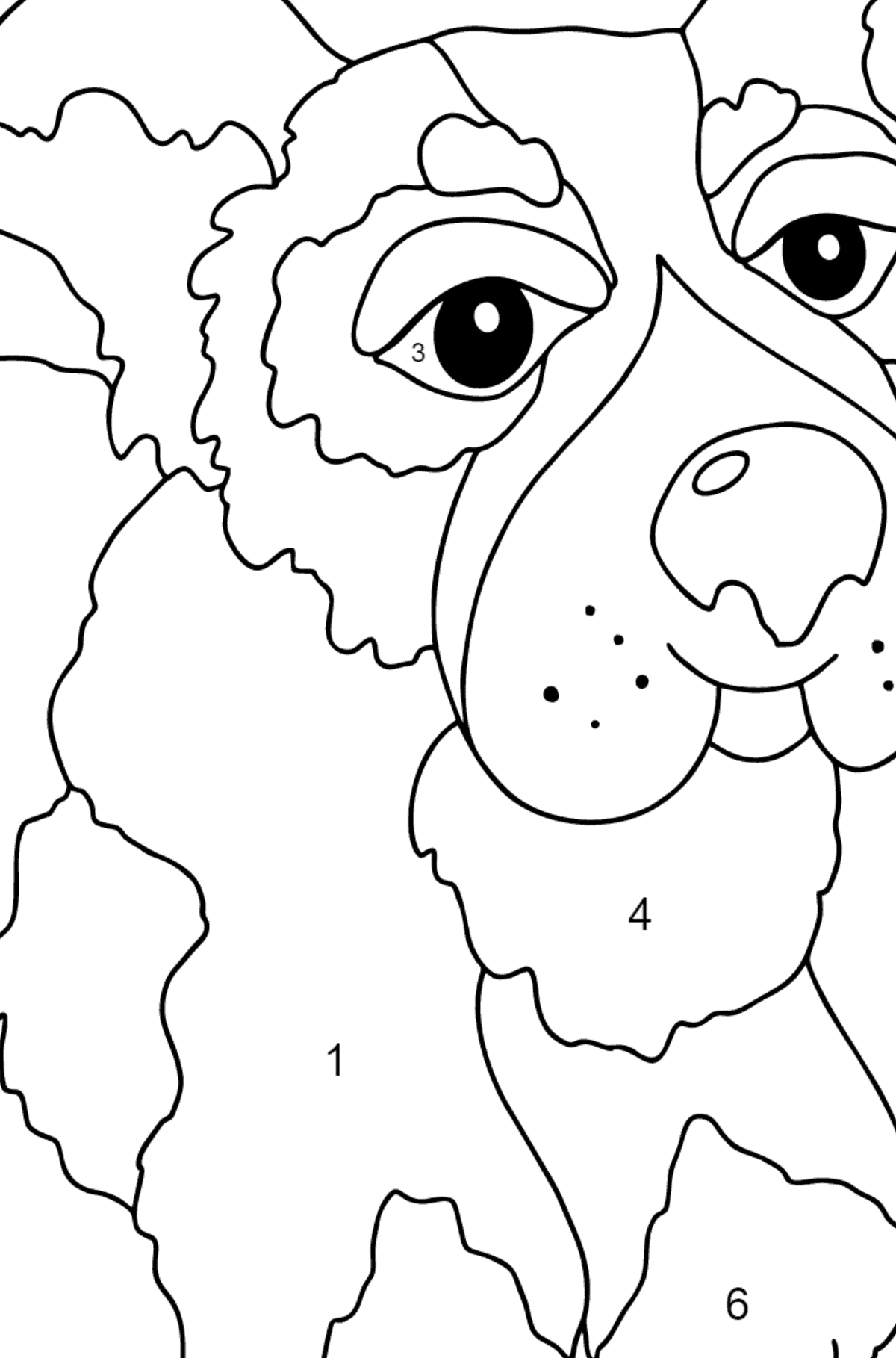 Coloring Page - A Dog is Jumping with a Blue Ball for Children  - Color by Number