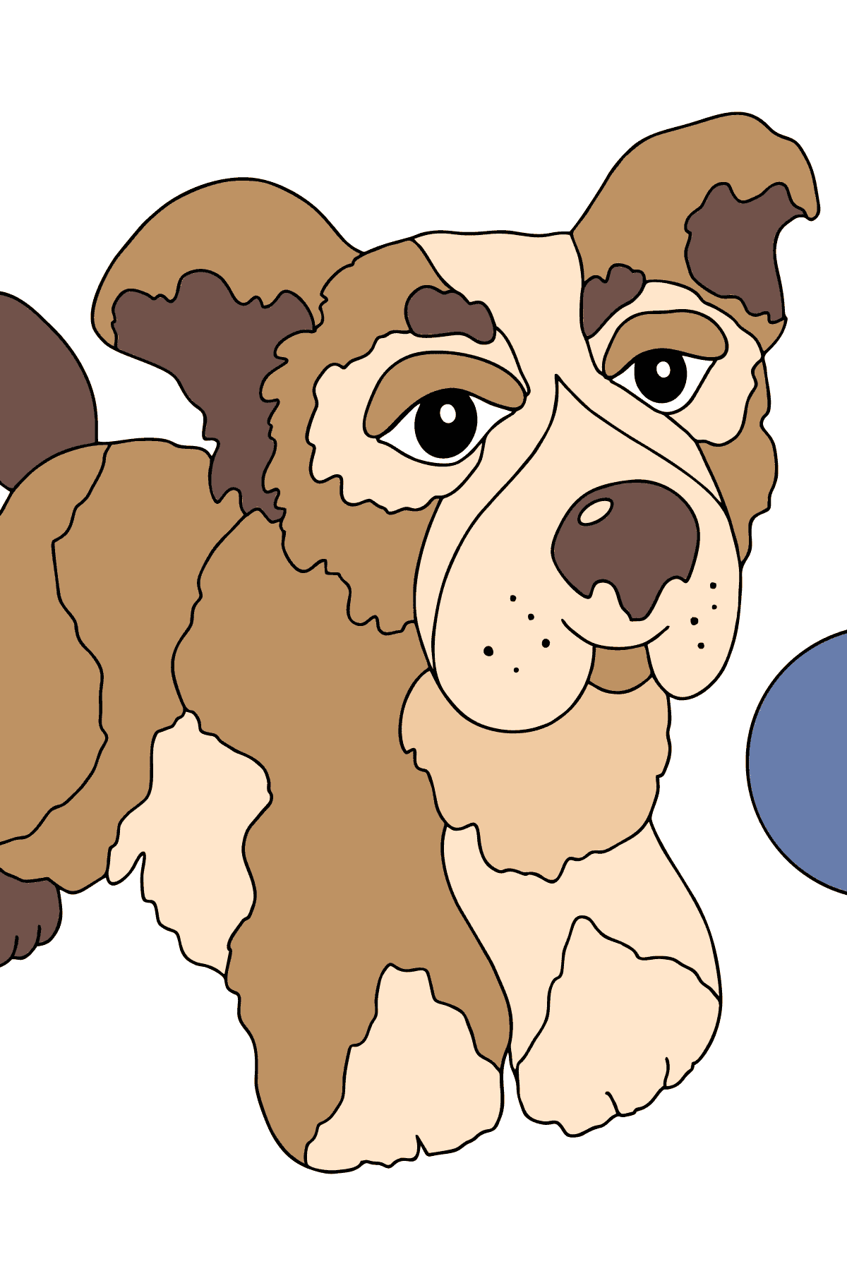 Coloring Page - A Dog is Jumping with a Blue Ball for Kids