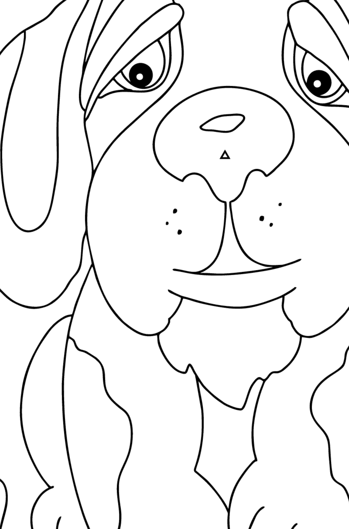 Coloring Page - A Dog is Looking Out a Butterfly for Kids  - Color by Symbols and Geometric Shapes