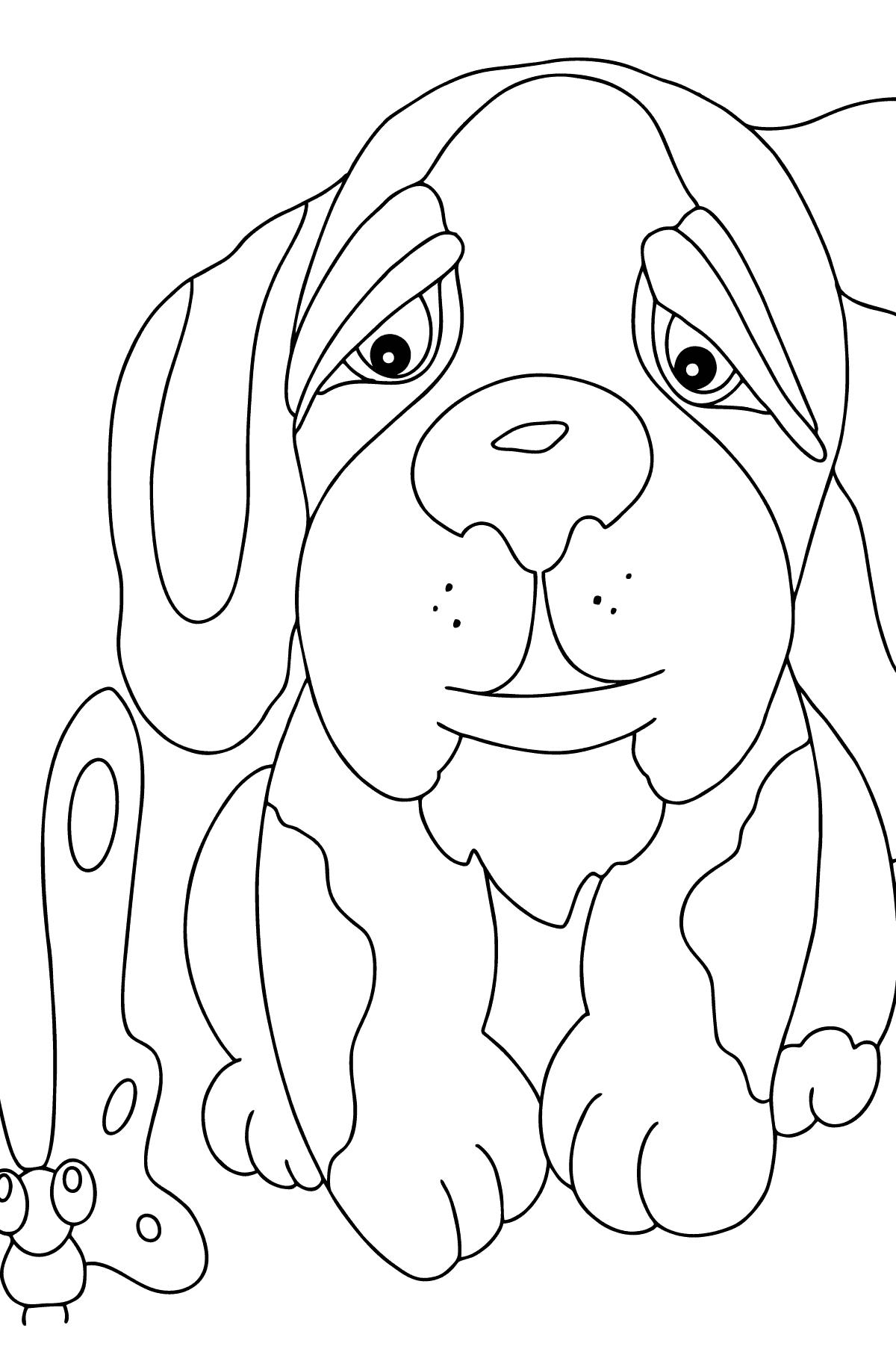 Простая раскраска Собака - Картинки для Детей