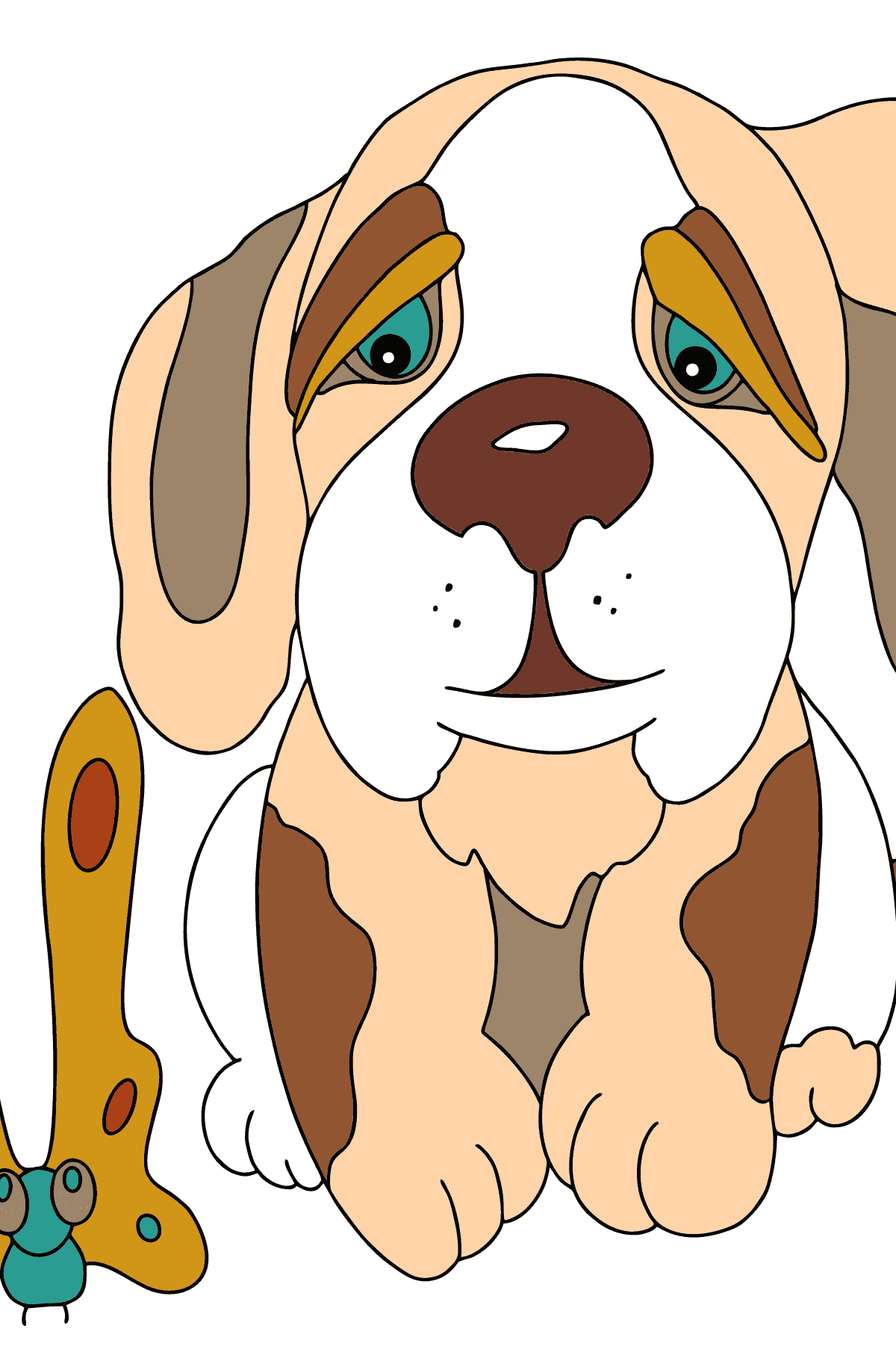 Coloring Page - A Dog is Looking Out a Butterfly for Children