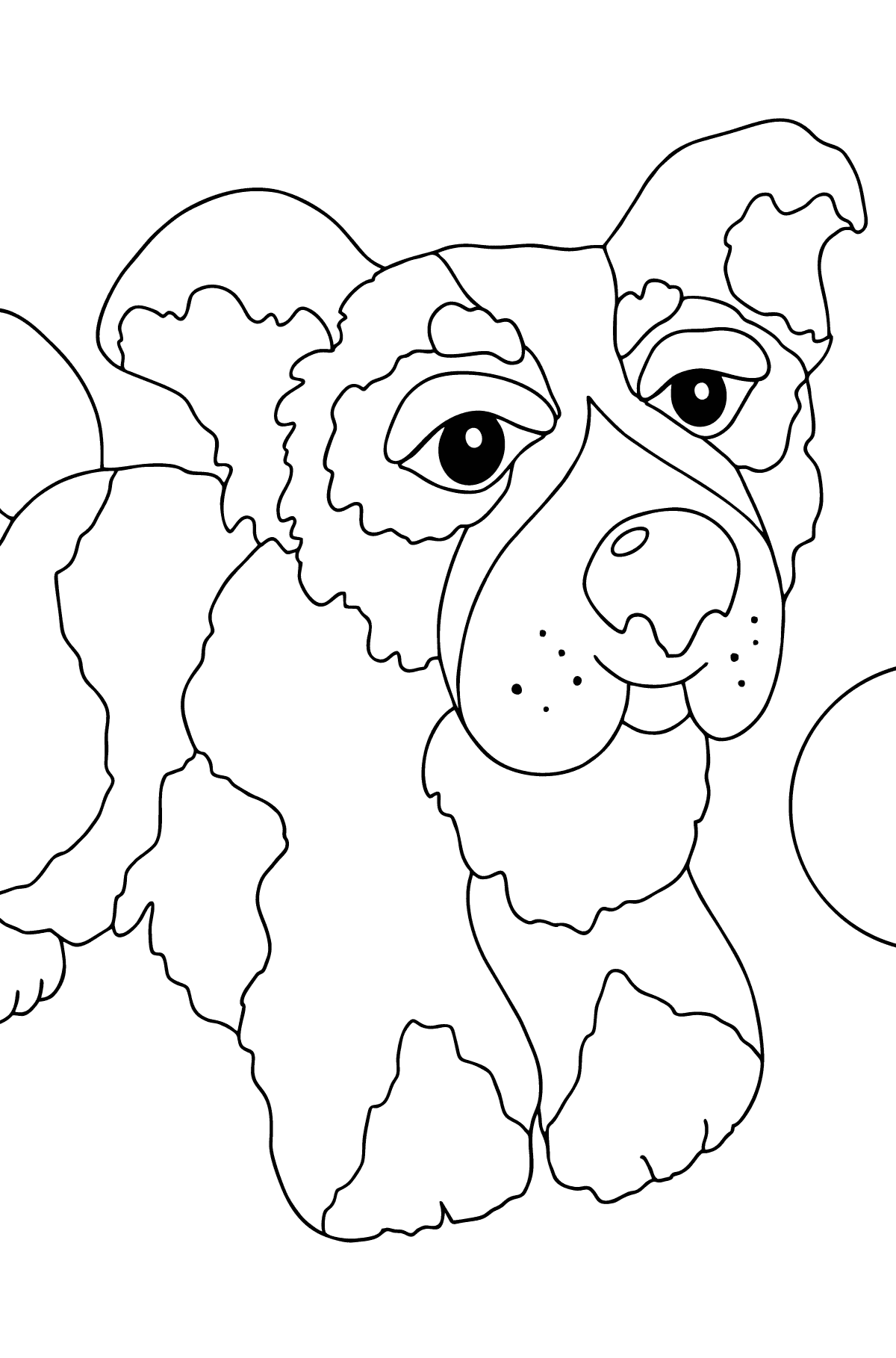 Coloring Page - A Dog is Playing with a Ball for Children
