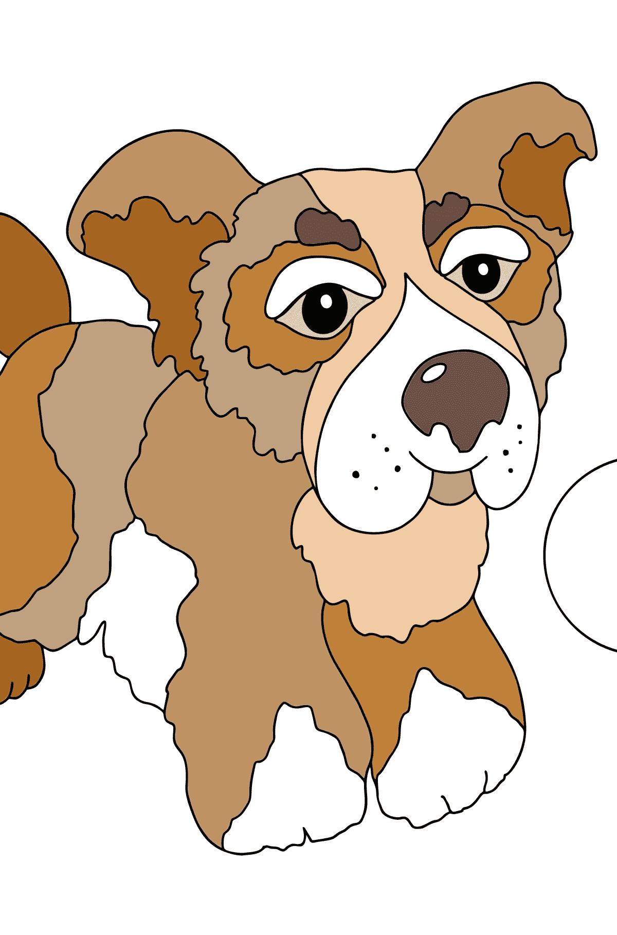 Ausmalseite - Ein Hund spielt mit einem Ball