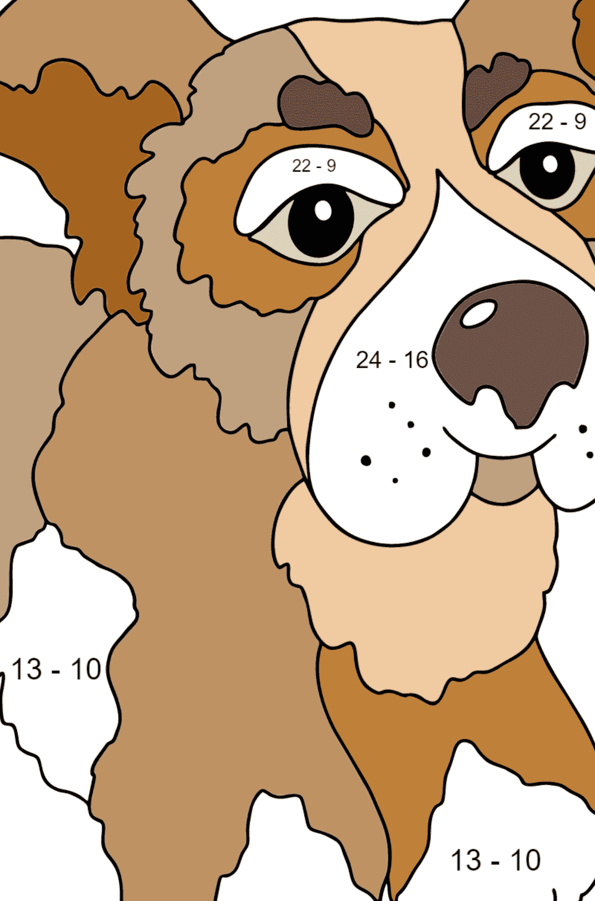Coloring Page - A Dog is Playing with a Ball for Children  - Color by Number Substraction