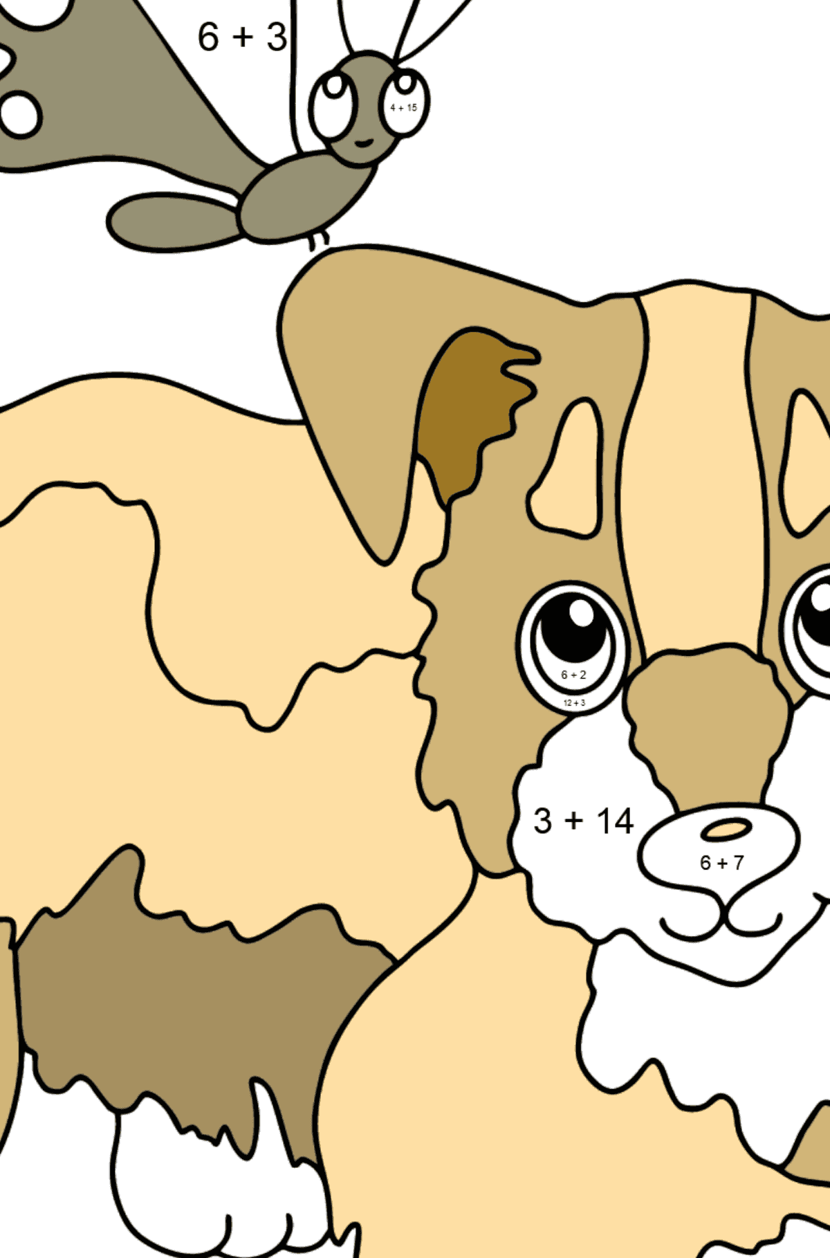 Coloring Page - A Dog is Playing with a Beautiful Butterfly - Math Coloring - Addition for Kids