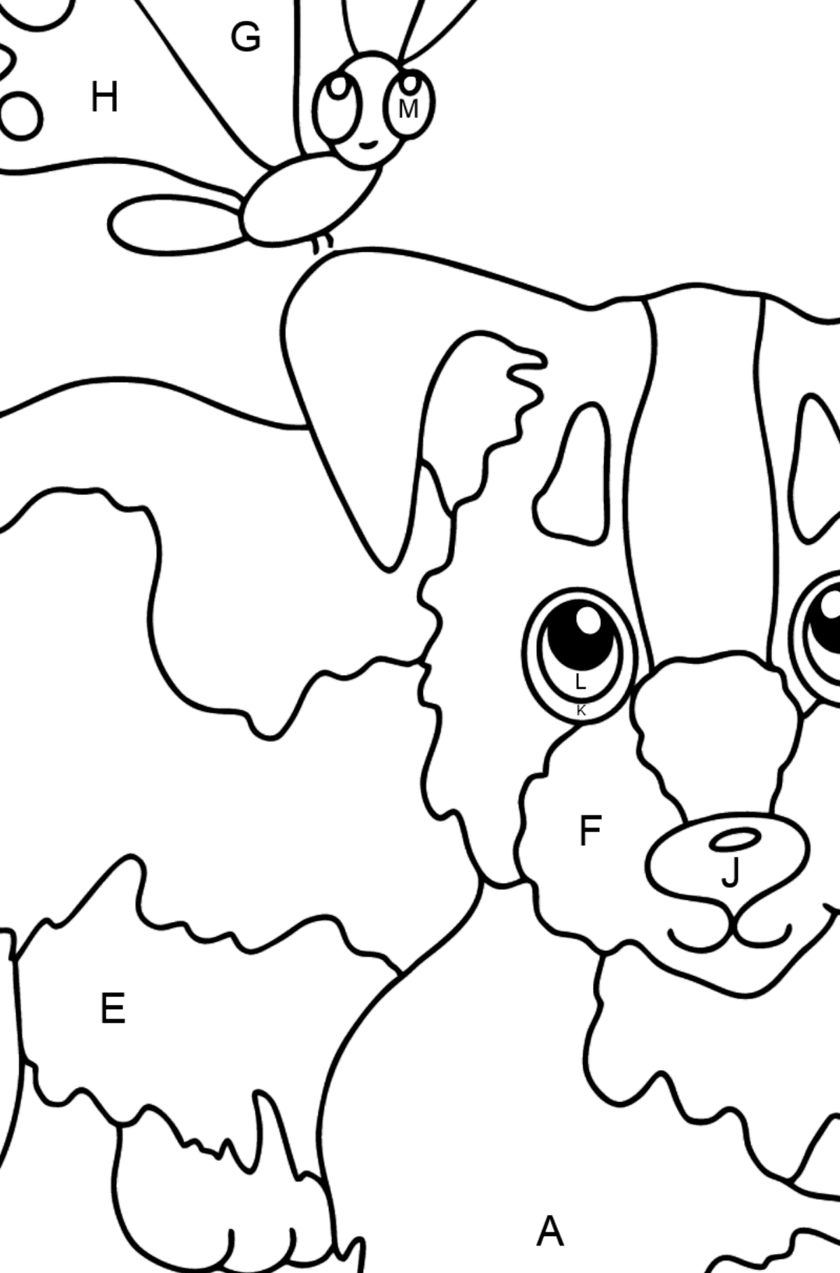 Coloring Page - A Dog is Playing with a Beautiful Butterfly - Coloring by Letters for Kids