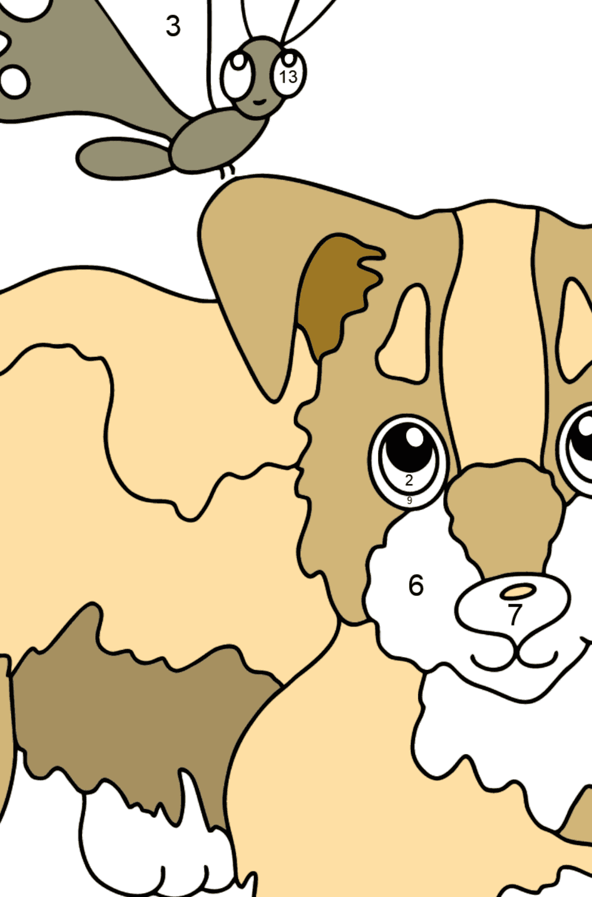 Coloring Page - A Dog is Playing with a Beautiful Butterfly - Coloring by Numbers for Kids
