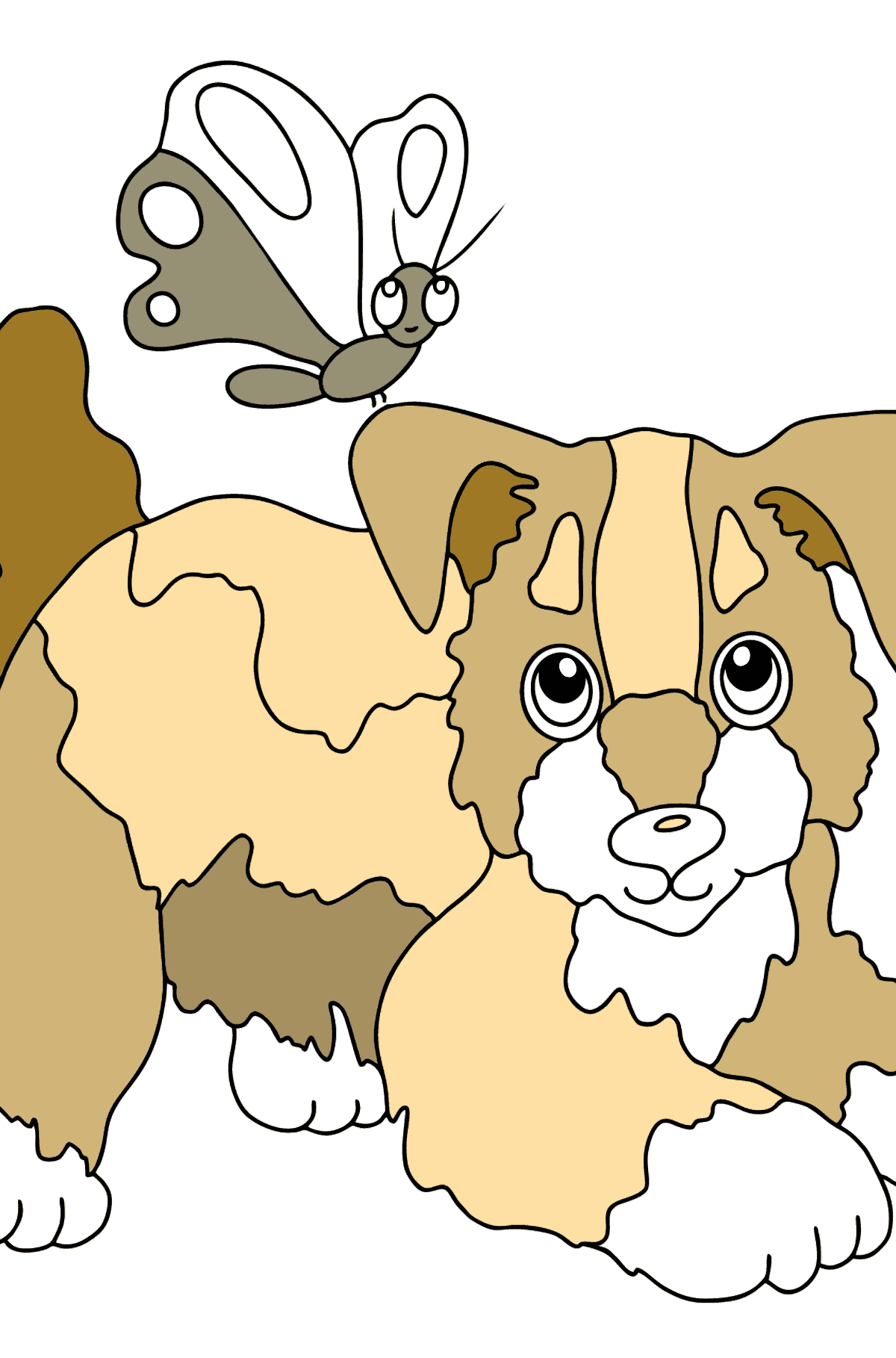 Coloring Page - A Dog is Playing with a Beautiful Butterfly - Coloring Pages for Kids
