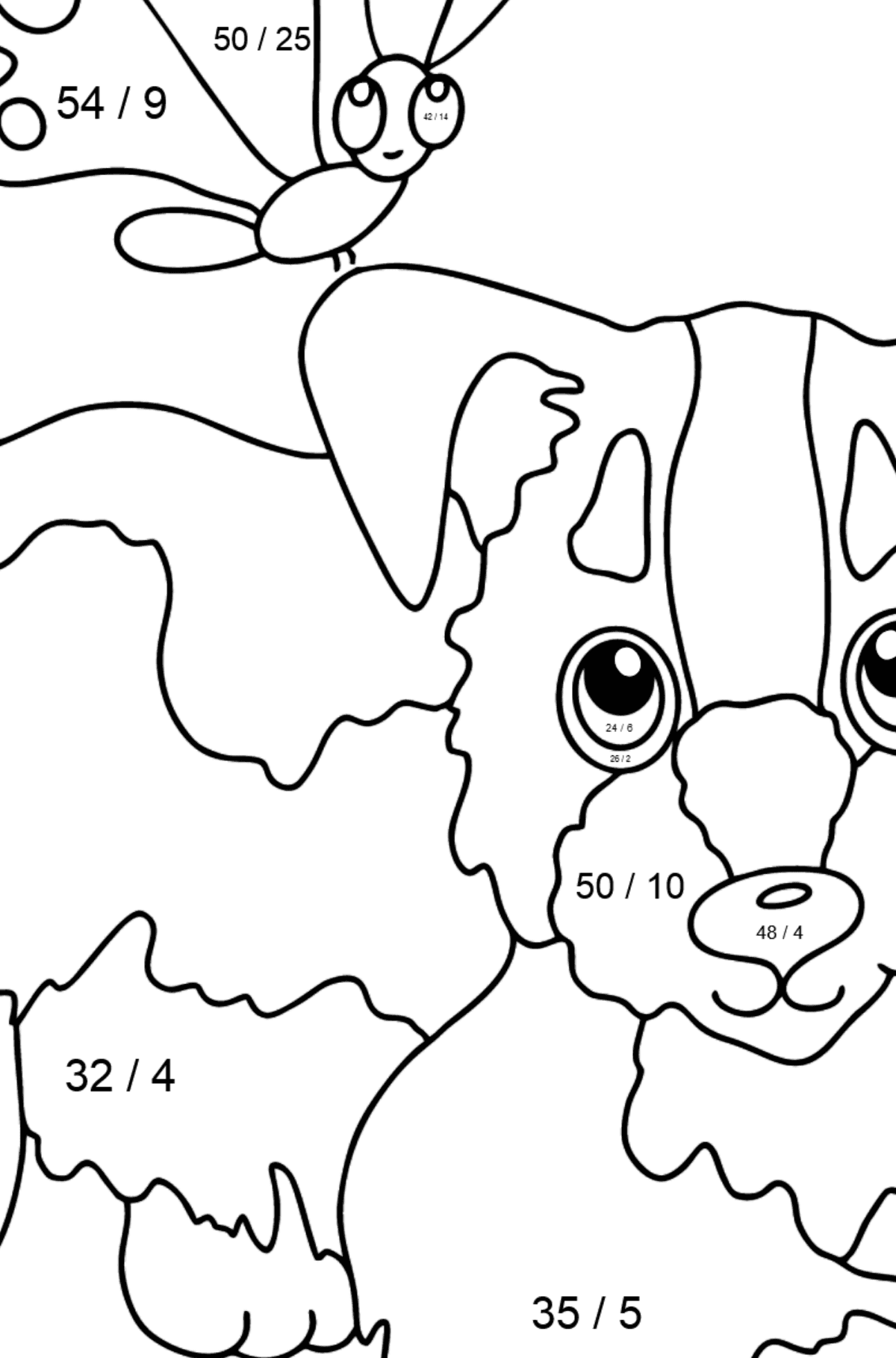 Coloring Page - A Dog is Playing with a Beautiful Butterfly - Math Coloring - Division for Kids