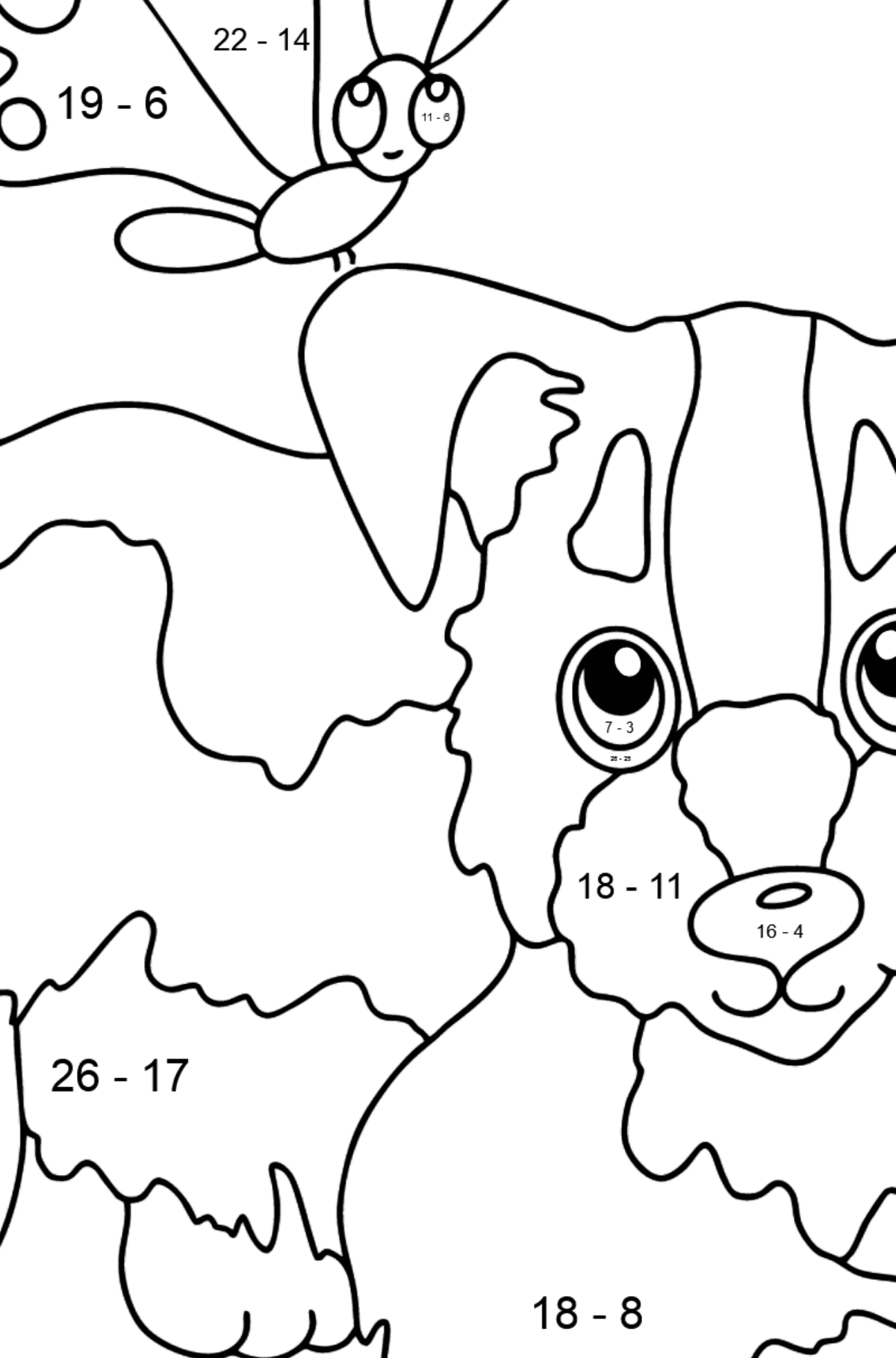 Coloring Page - A Dog is Playing with a Beautiful Butterfly - Math Coloring - Subtraction for Kids