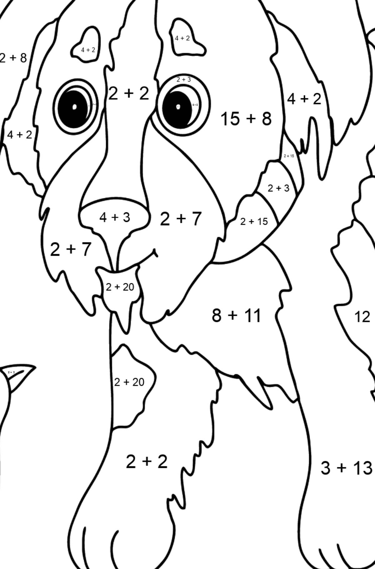 Coloring Page - A Dog is Playing with a Bird - Math Coloring - Addition for Kids