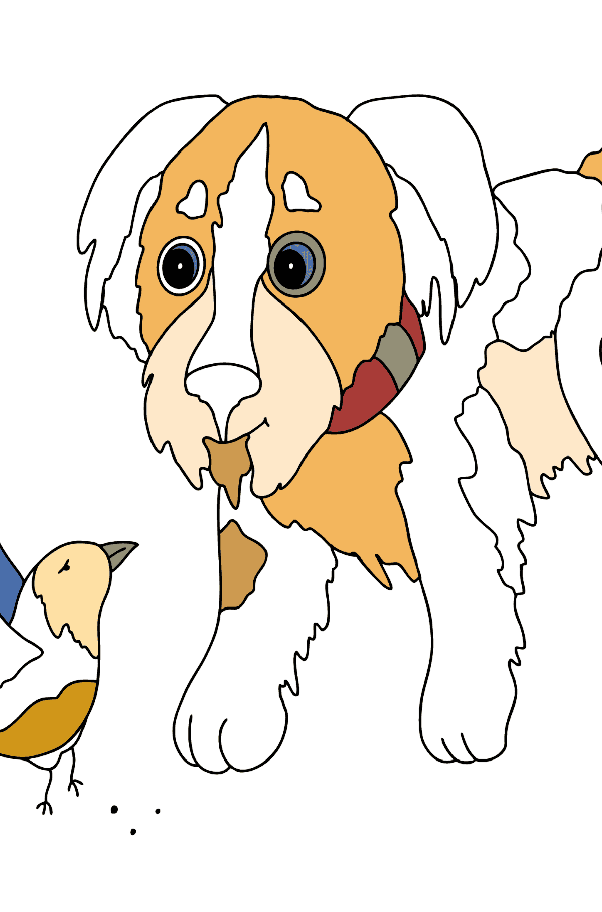 Coloring Page - A Dog is Playing with a Bird - Coloring Pages for Kids
