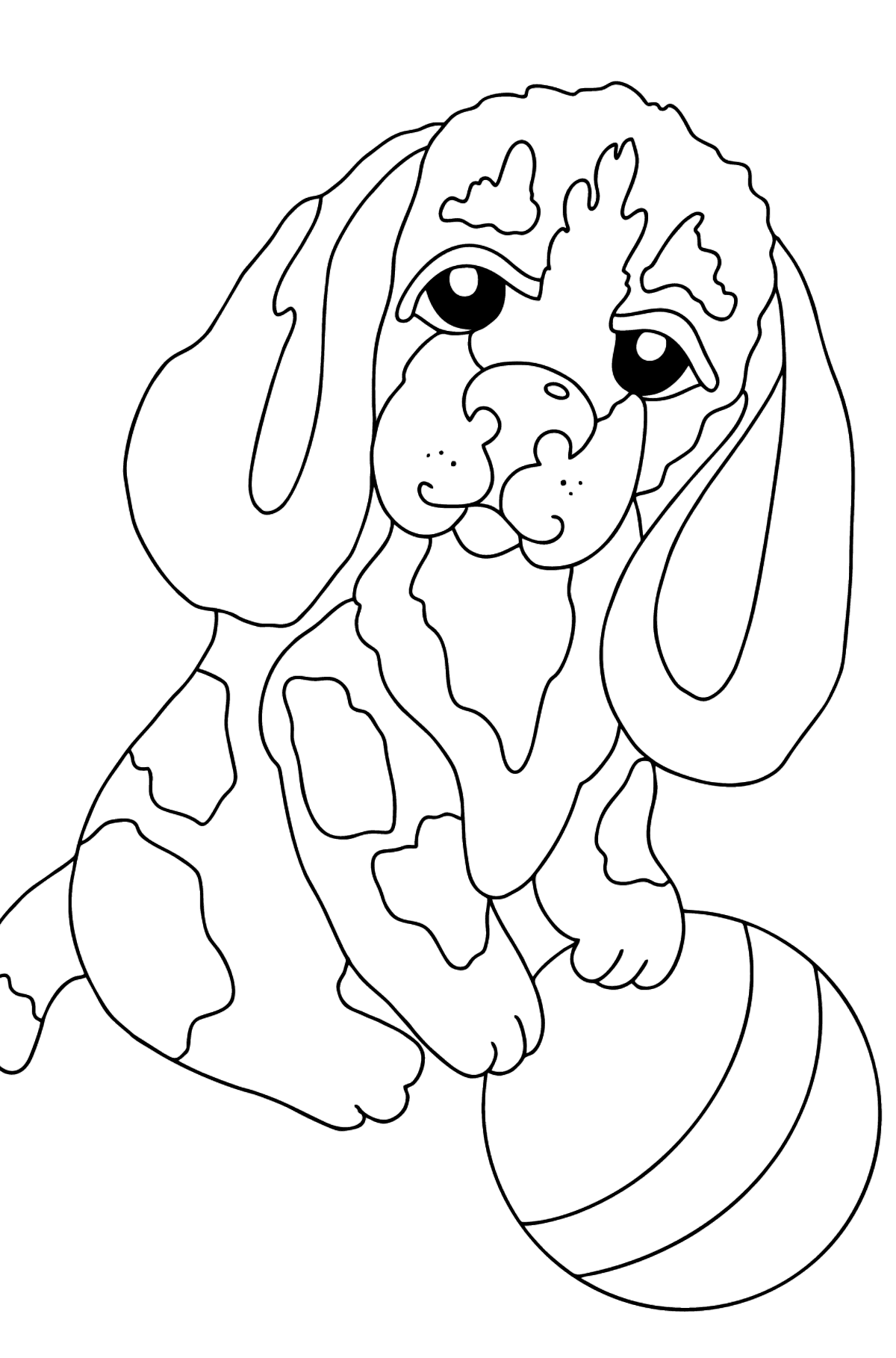 Coloring Page - A Dog is Playing with a Blue Ball  - Coloring Pages for Kids