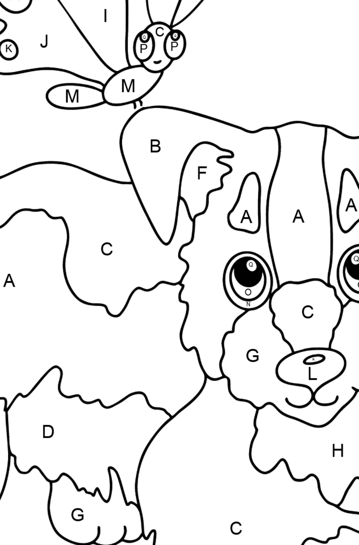 Coloring Page - A Dog is Playing with a Butterfly - Coloring by Letters for Kids