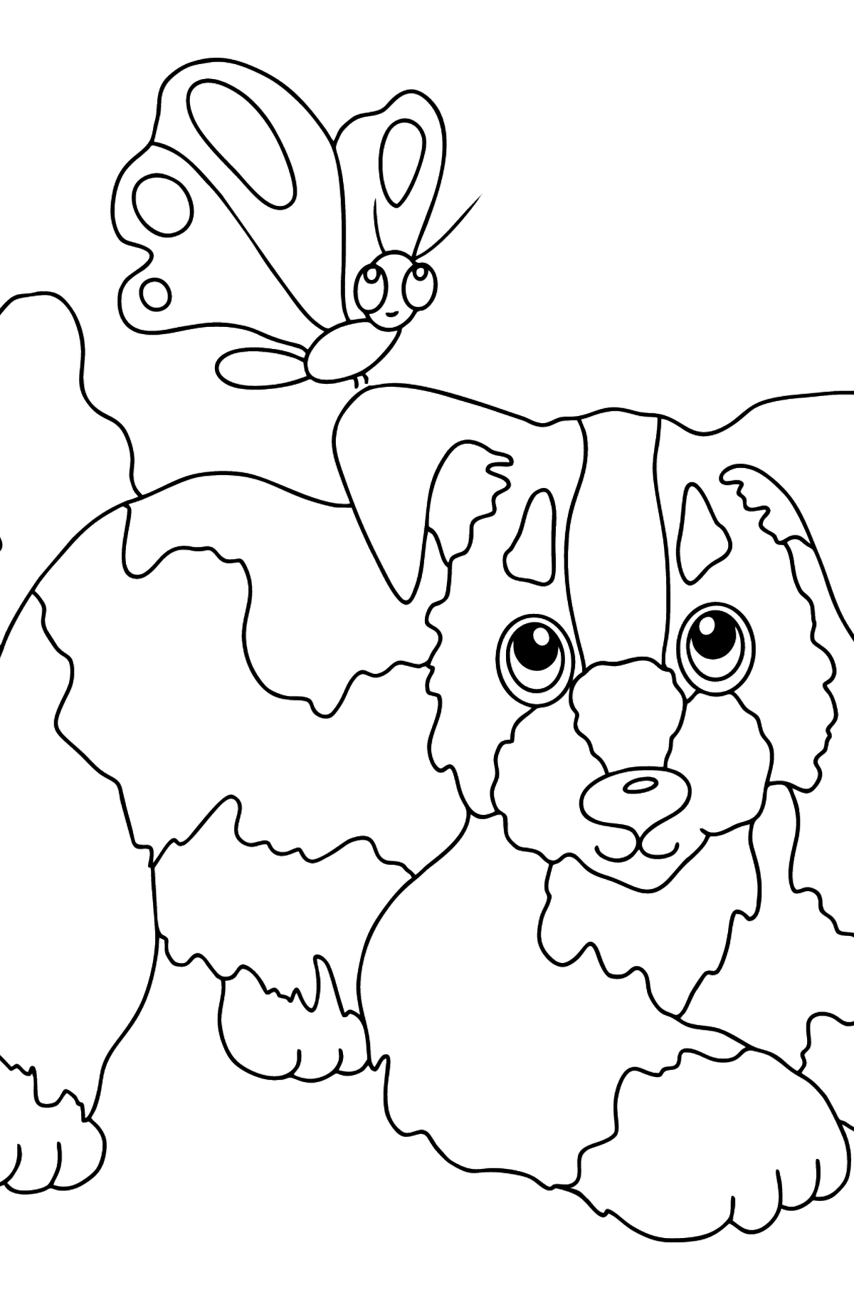 Coloring Page - A Dog is Playing with a Butterfly - Coloring Pages for Kids